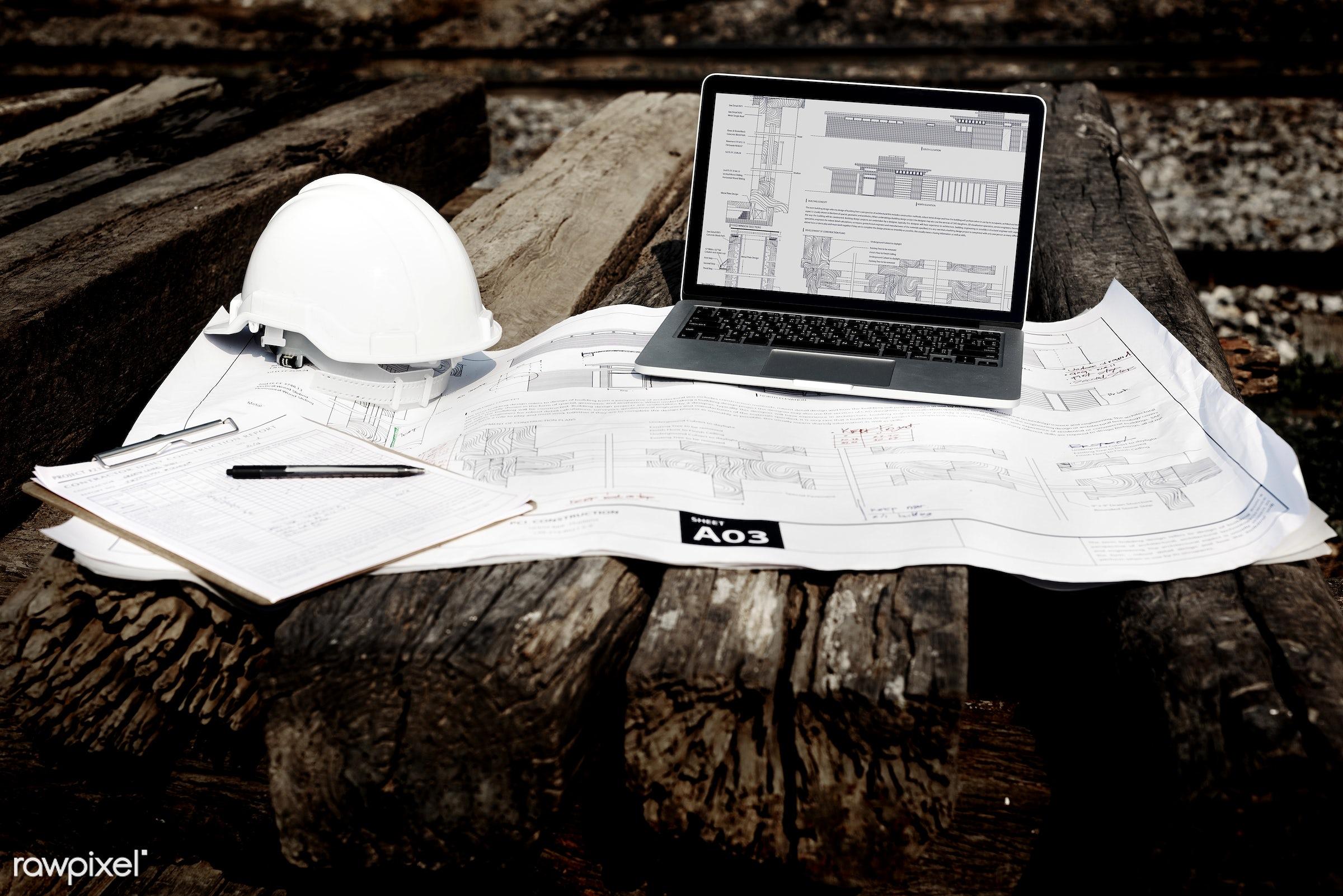 computer, construction, engineer, career, engineering, aerial, architecture, blueprint, building, built, closeup,...