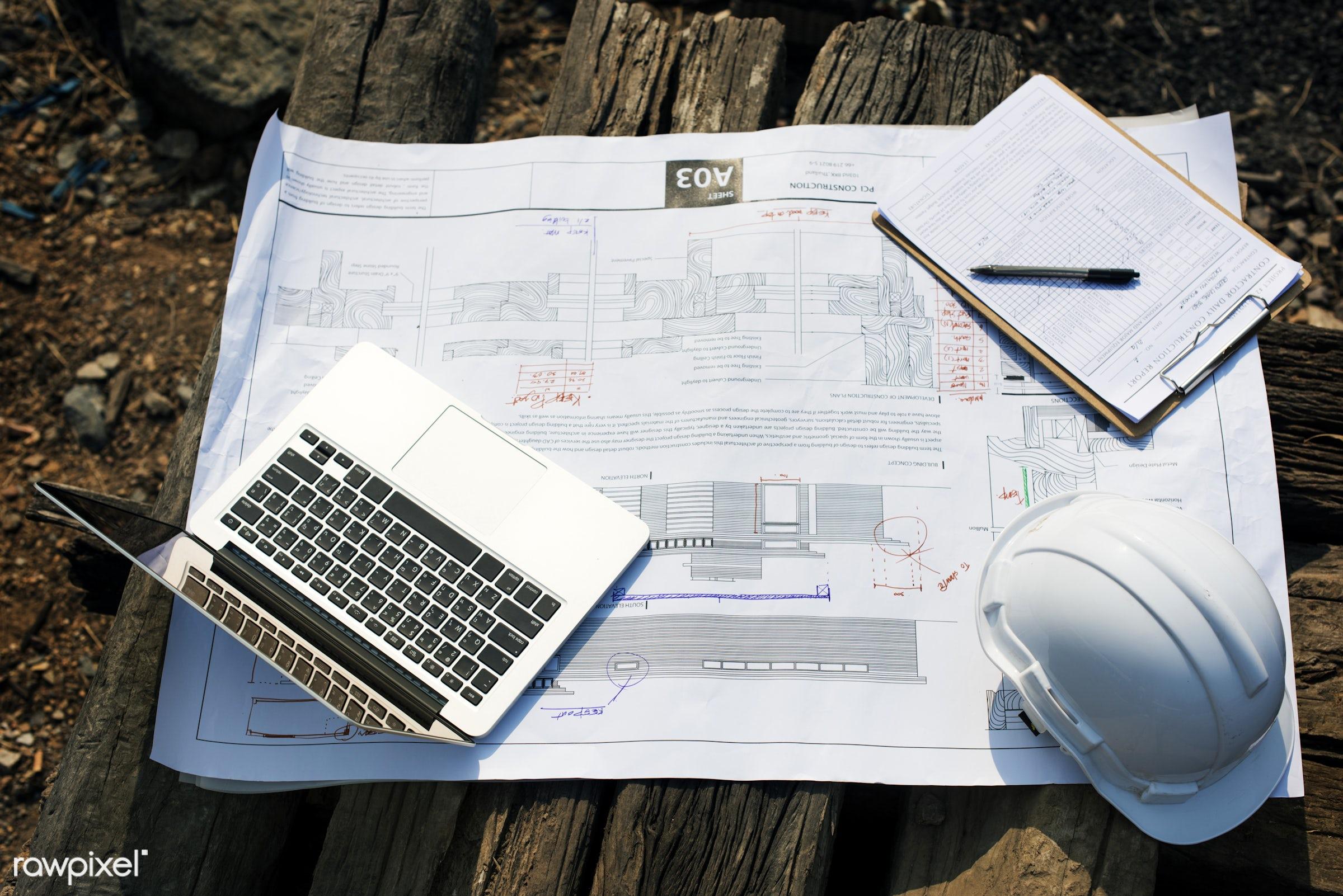 Construction site - construction, engineer, blueprint, career, computer, construction site, helmet, aerial, architecture,...