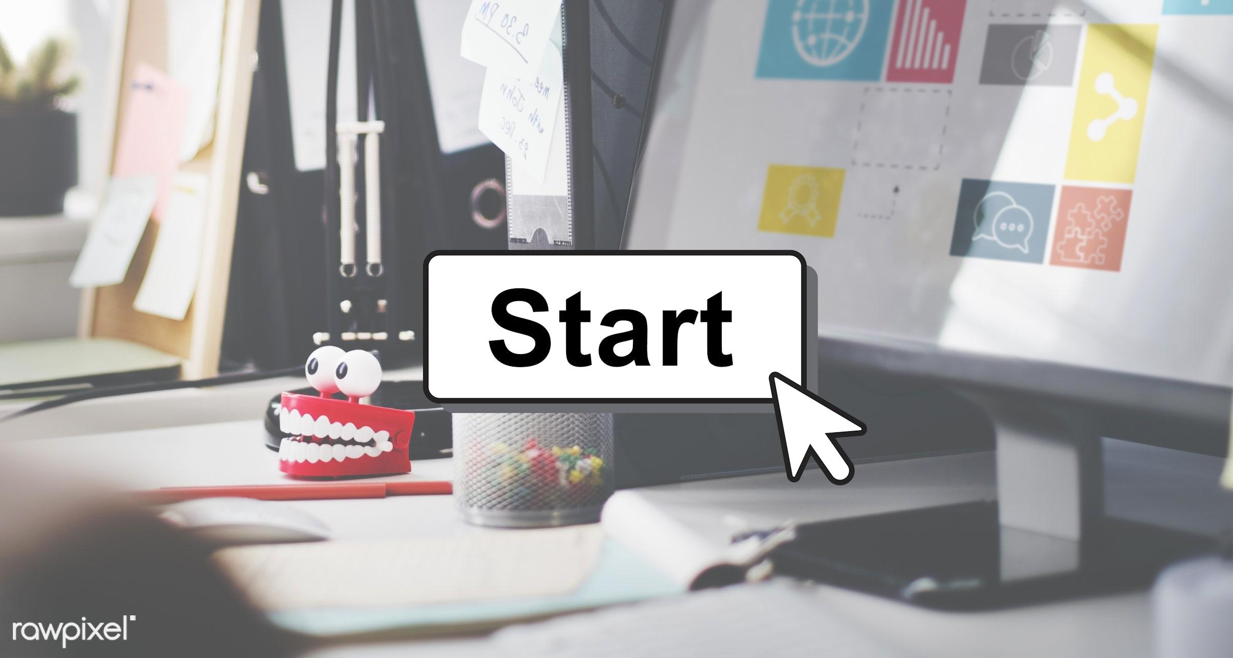 activation, begin, beginning, build, business, computer, computer screen, contemporary, desk, device, first, forward,...