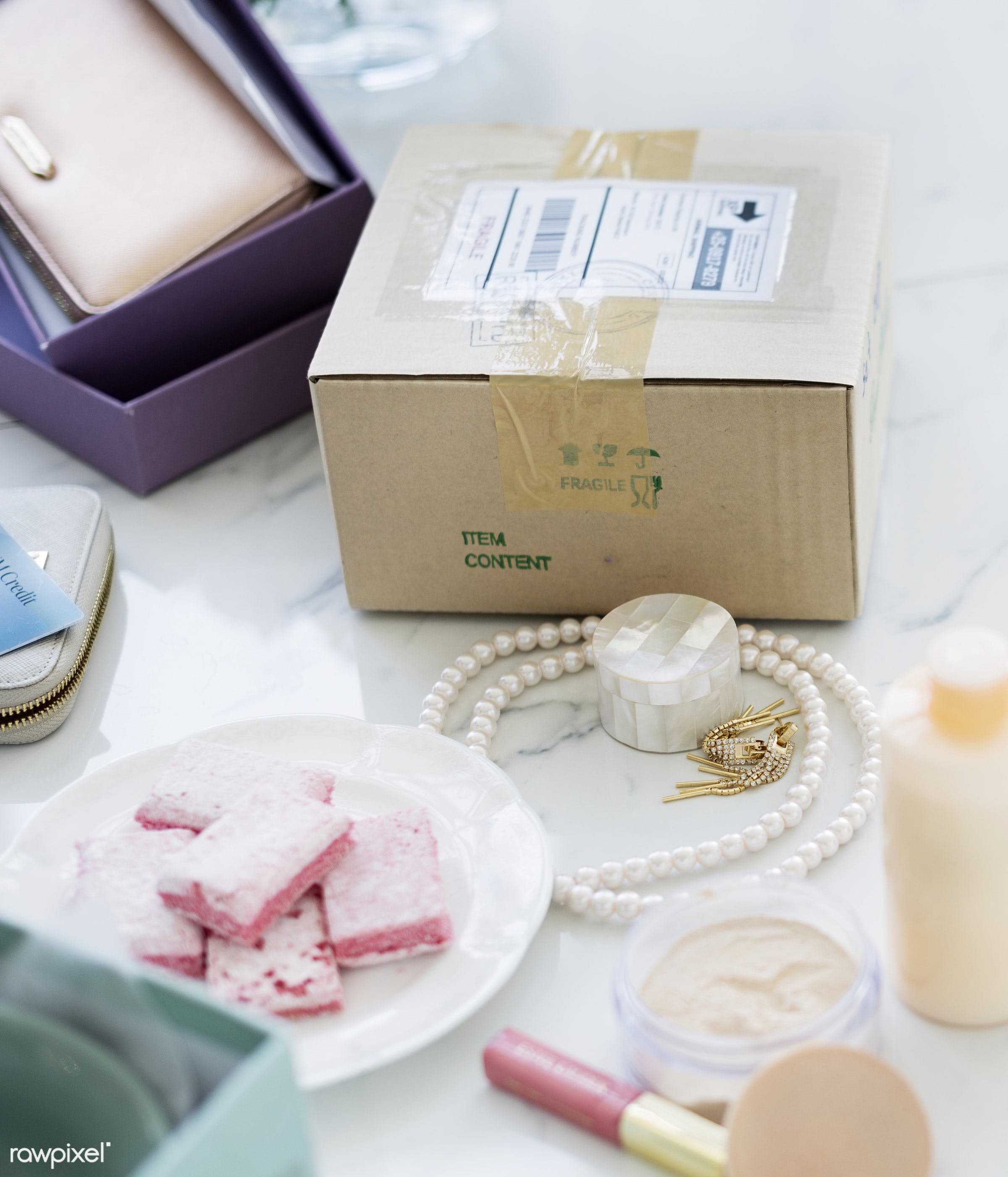 box, cosmetics, cream, dessert, feminine, lotion, makeup, marble table, nobody, objects, package, powder, snack, sweet,...