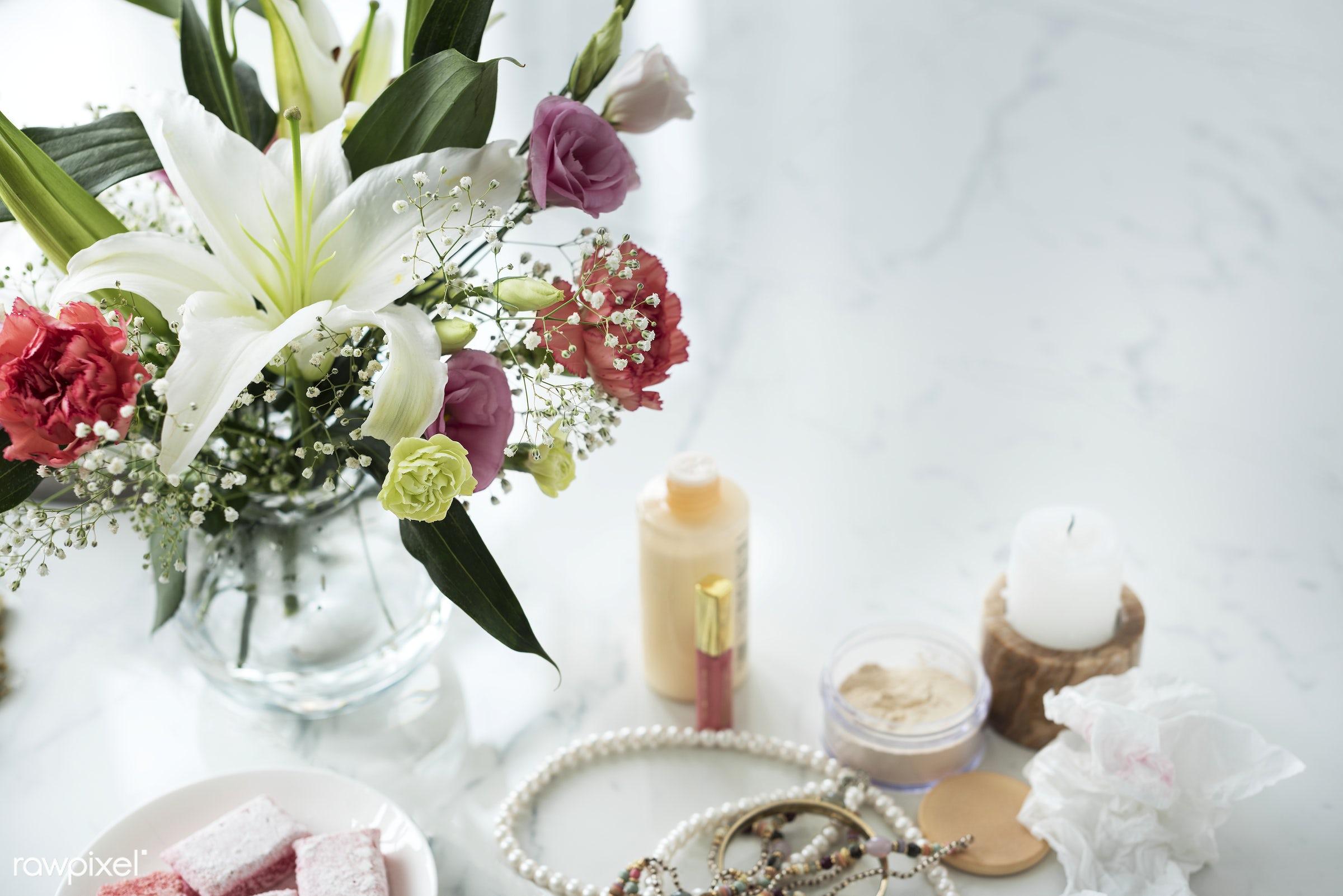 Woman cosmetics on marble table - box, cosmetics, cream, dessert, feminine, flowers, lotion, makeup, marble table, nobody,...