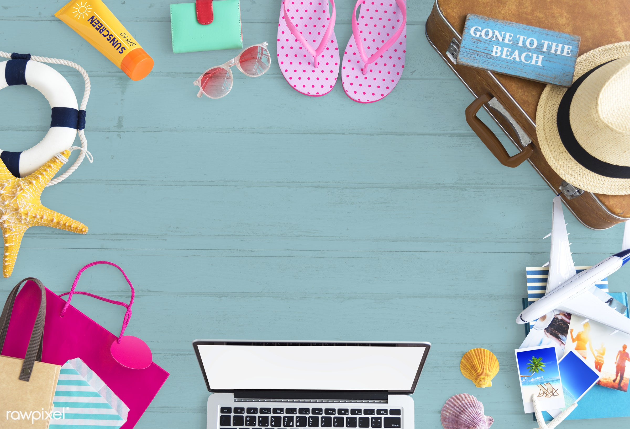 desk, vacation, laptop, aerial, beach, computer, device, digital, electronic, flat lay, hat, holiday, leisure, lifestyle,...
