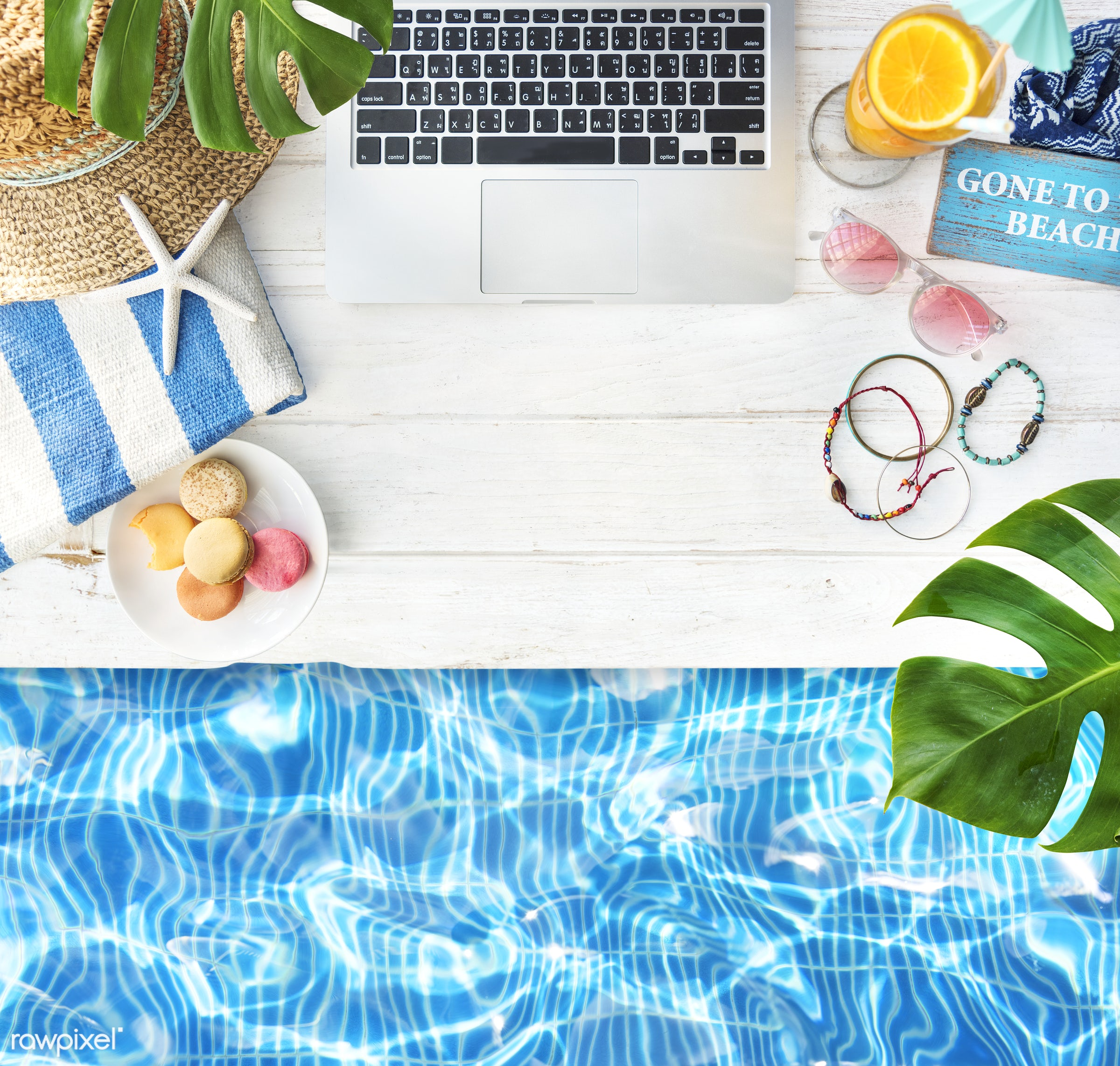 summer, vacation, computer, beach, desk, pool, nature, laptop, hat, flat lay, aerial, browsing, device, digital, drink,...