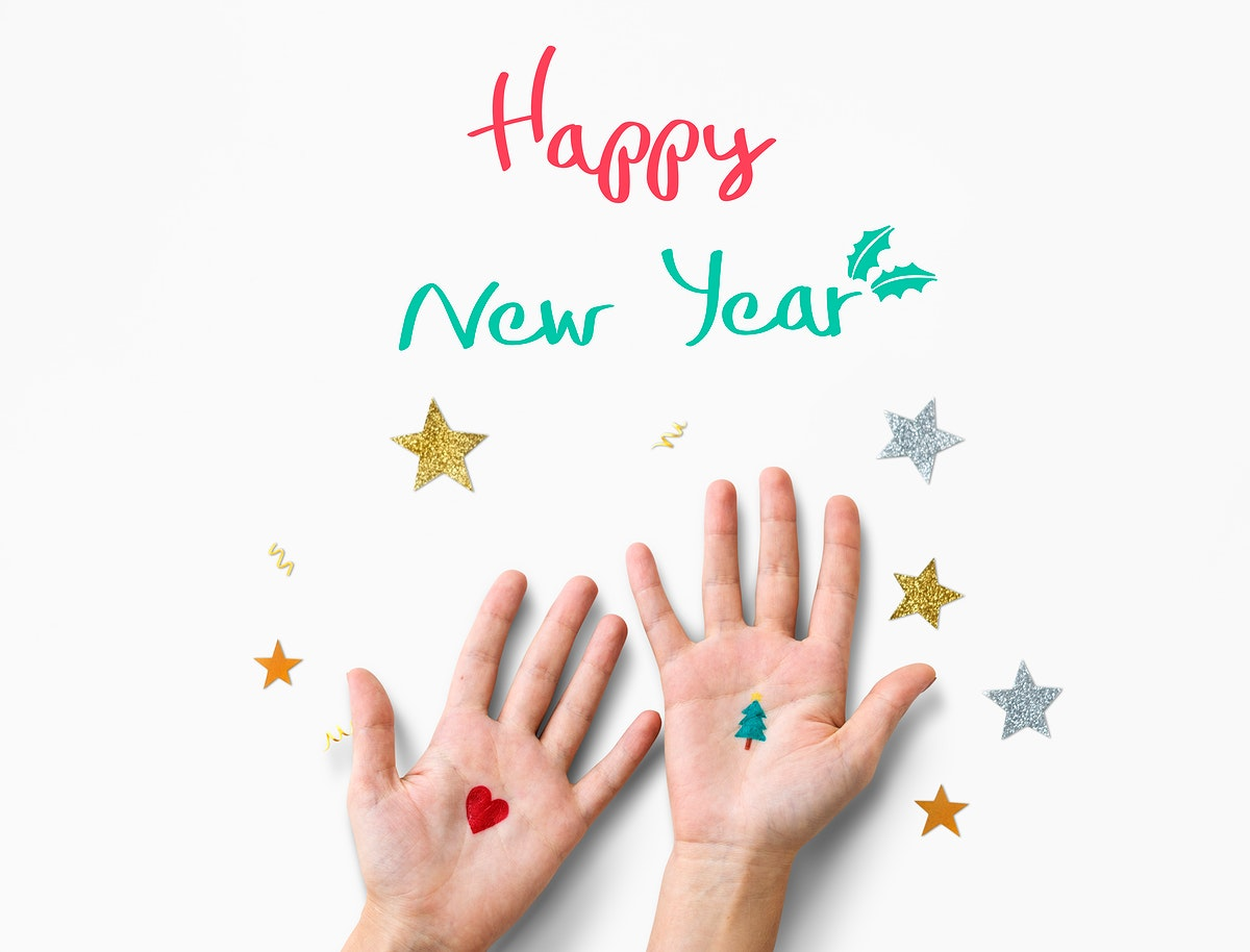 Aerial view of hands with happy new year wishing word on white background
