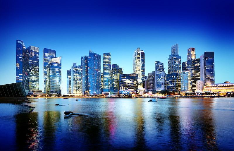 Cityscape Singapore Panoramic Night Concept