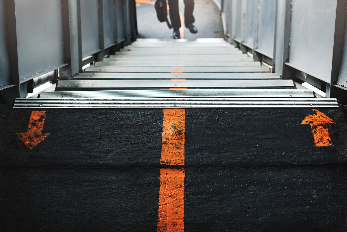Closeup of black pedestrian bridge