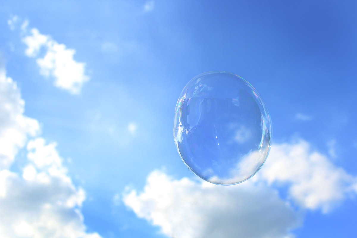 Closeup of bubble in the blue sky