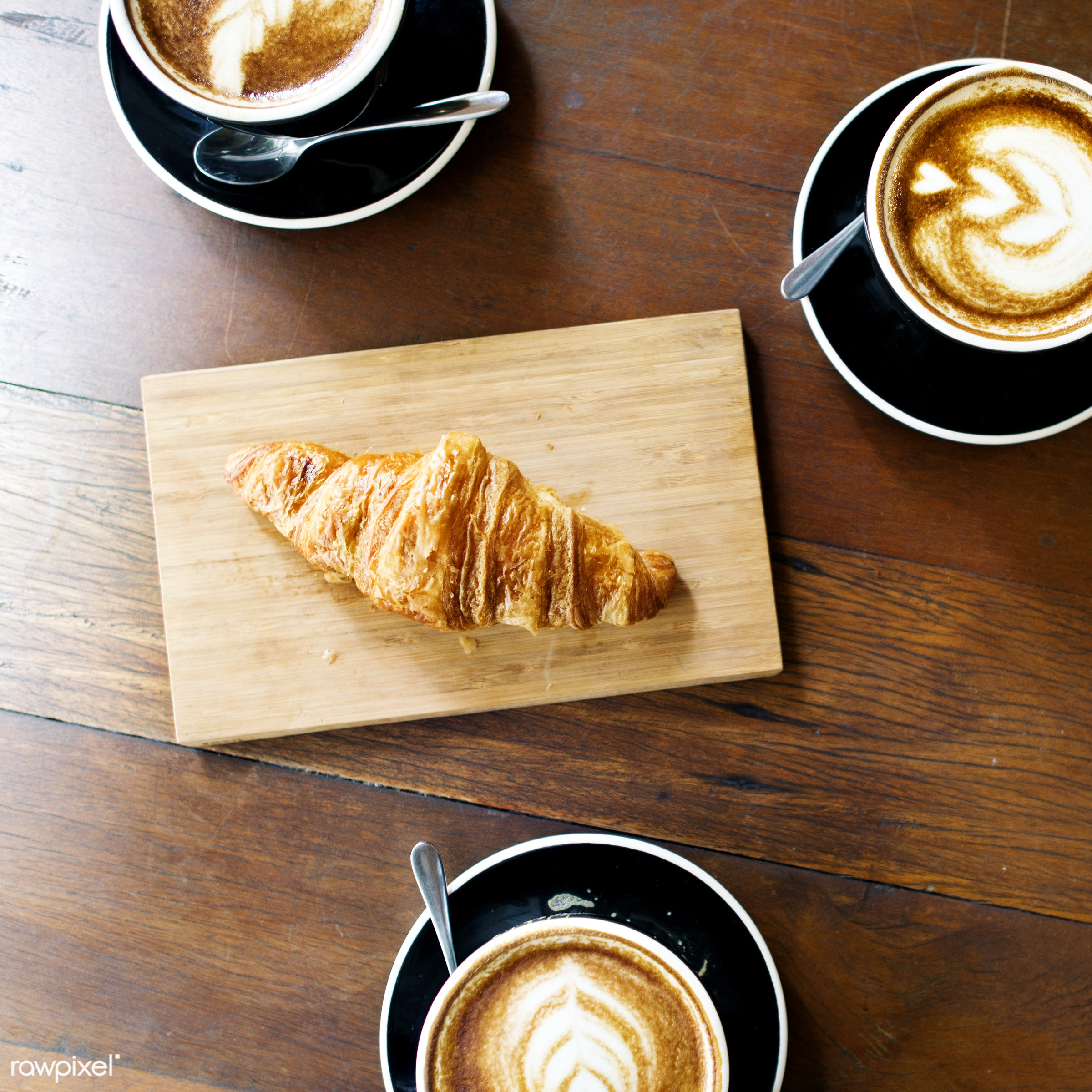 cup, shop, nobody, flatlay, coffee, baked, croissant, latte art, bakery, cafe, latte, aerial view, pastry, wooden table,...