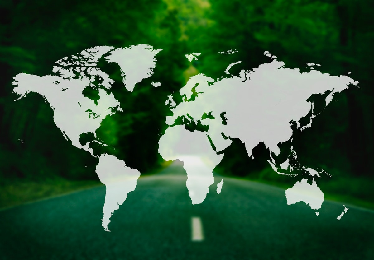 World continent shape on green forest background