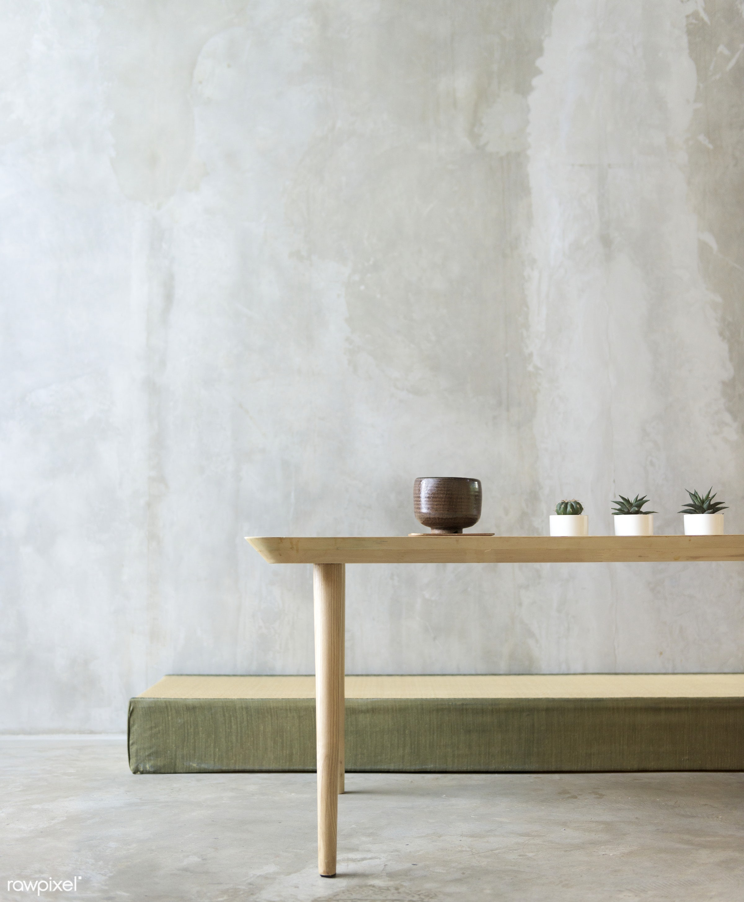 architecture, background, bed, blank, bowl, cactus, concept, copy space, cutout, design, empty, furniture, interior,...