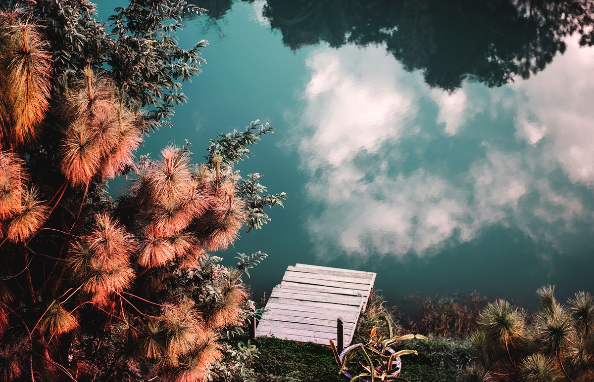 Reflection of cloudscape on the surface of the river