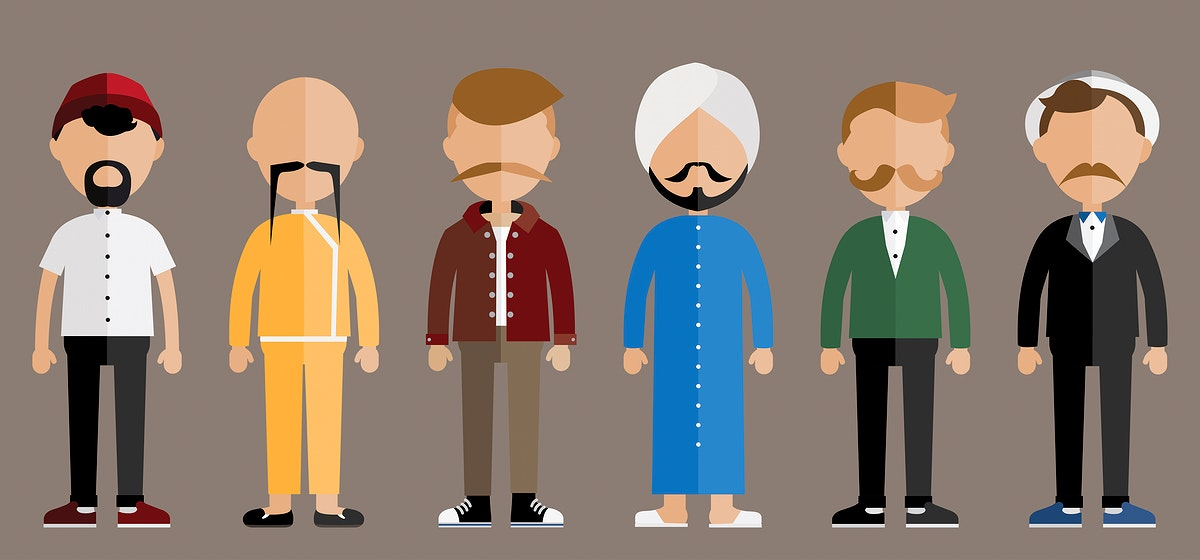 Collection of diverse mustache men prostate cancer awareness campaign graphic illustration