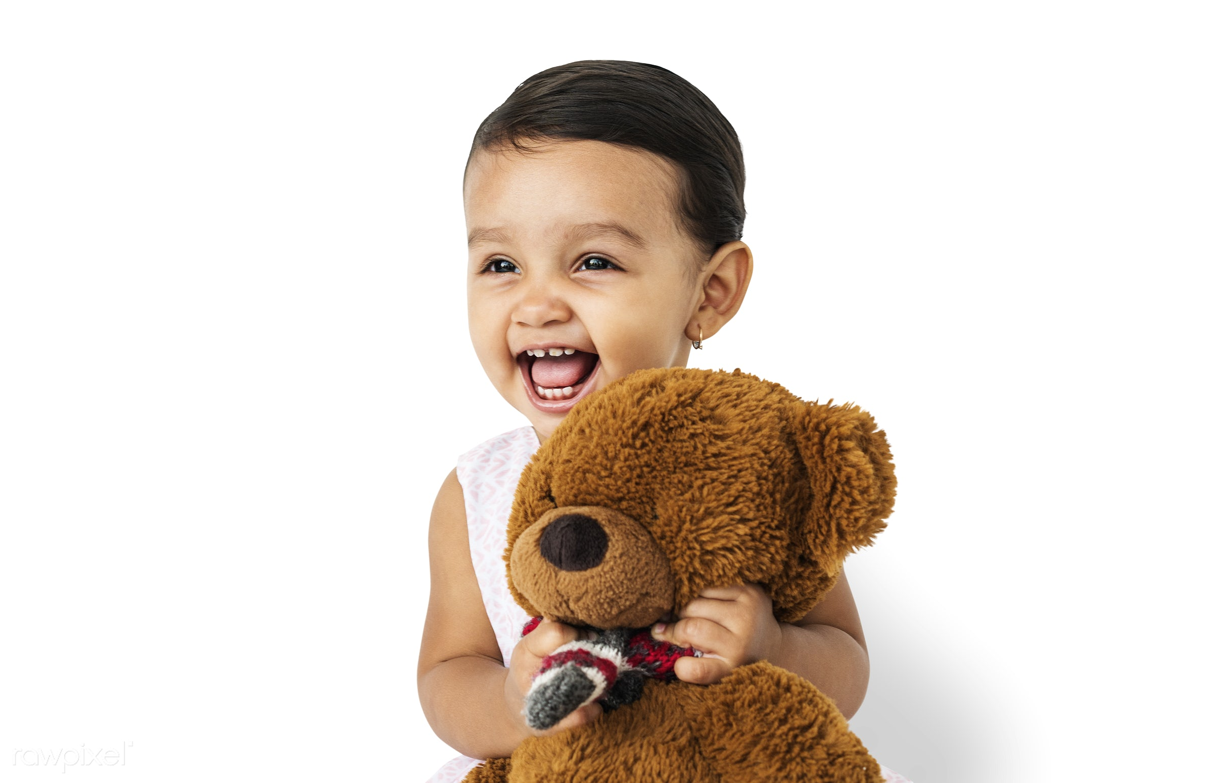 expression, studio, person, hug, soft toy, teddybear, isolated on white, little, cute, people, kid, child, girl, toy, joyous...