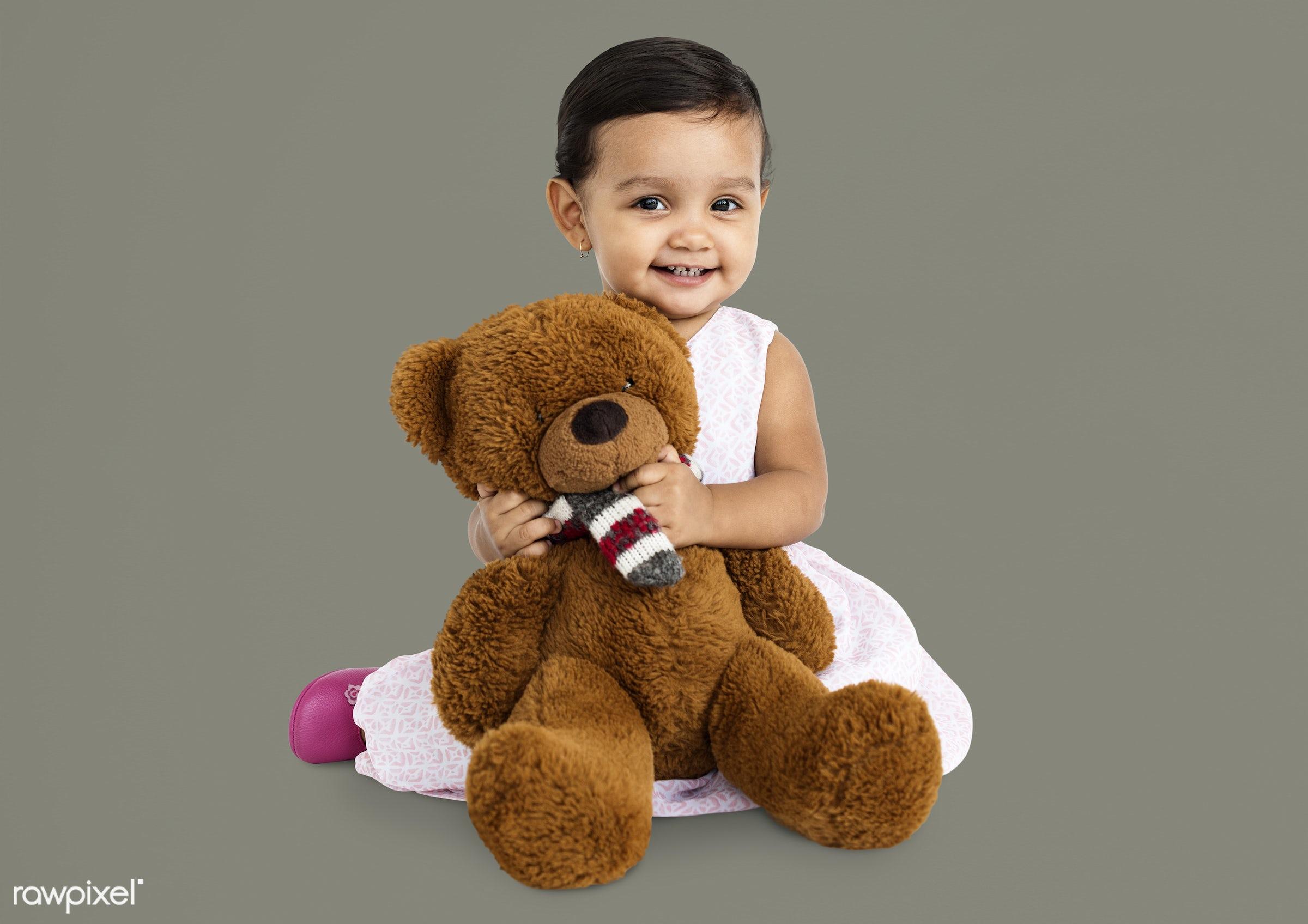 expression, studio, person, hug, soft toy, teddybear, little, cute, people, kid, child, girl, toy, joyous, happy, cheerful,...
