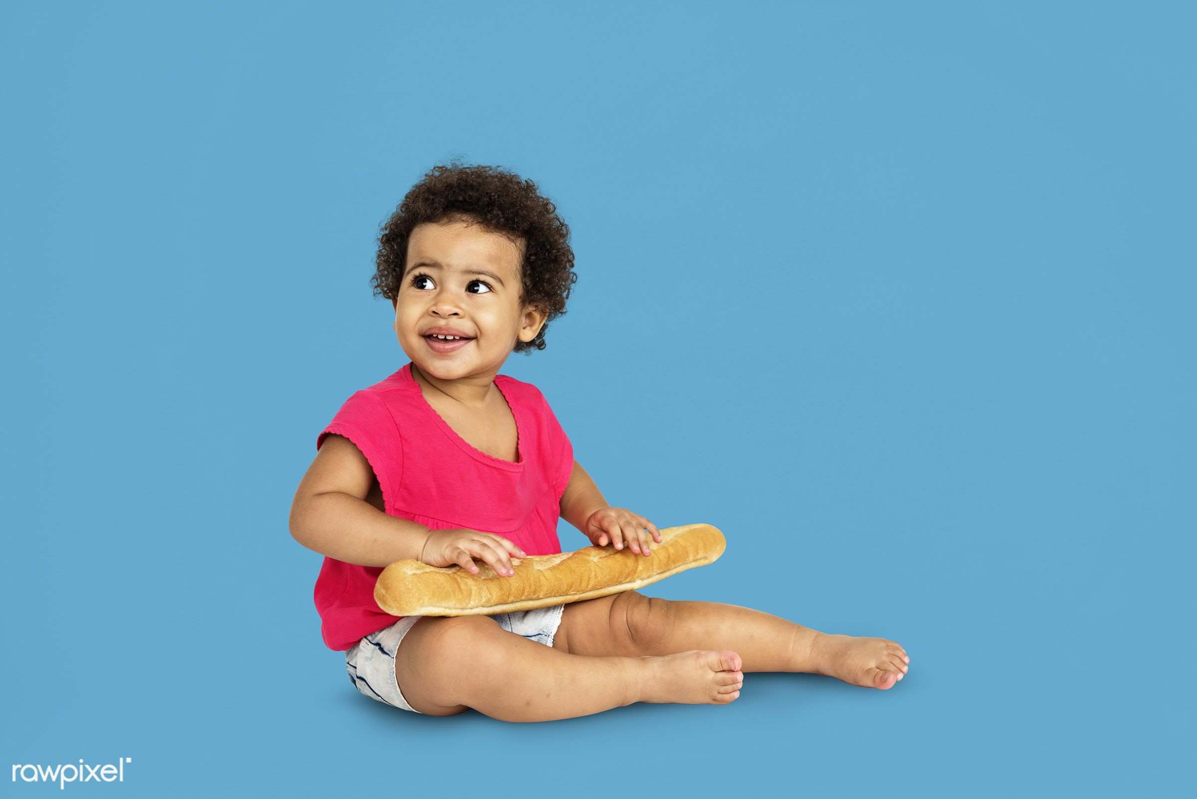 expression, studio, person, hug, little, cute, people, kid, child, pose, girl, joyous, happy, bread, cheerful, isolated,...