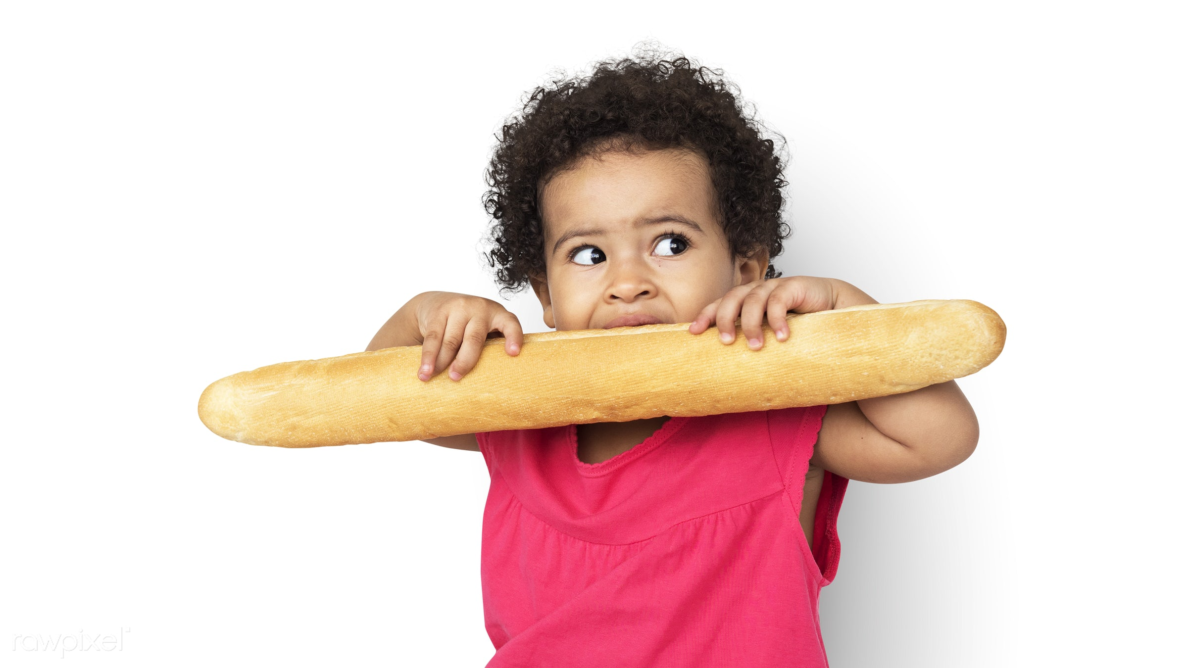 expression, studio, person, hug, isolated on white, little, cute, people, kid, child, pose, girl, joyous, happy, bread,...