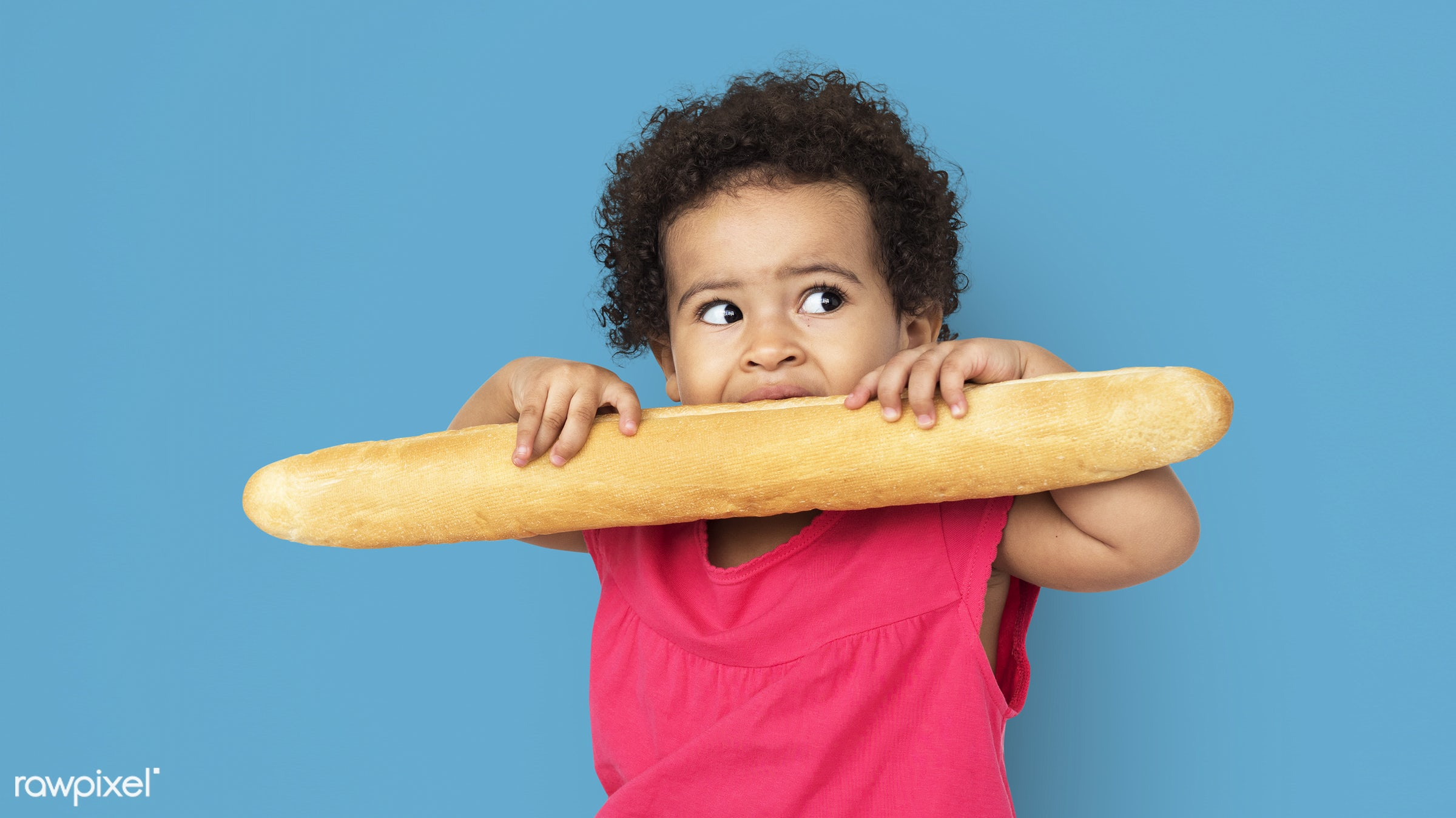 expression, studio, person, hug, little, cute, people, kid, child, pose, girl, joyous, bread, happy, cheerful, isolated,...