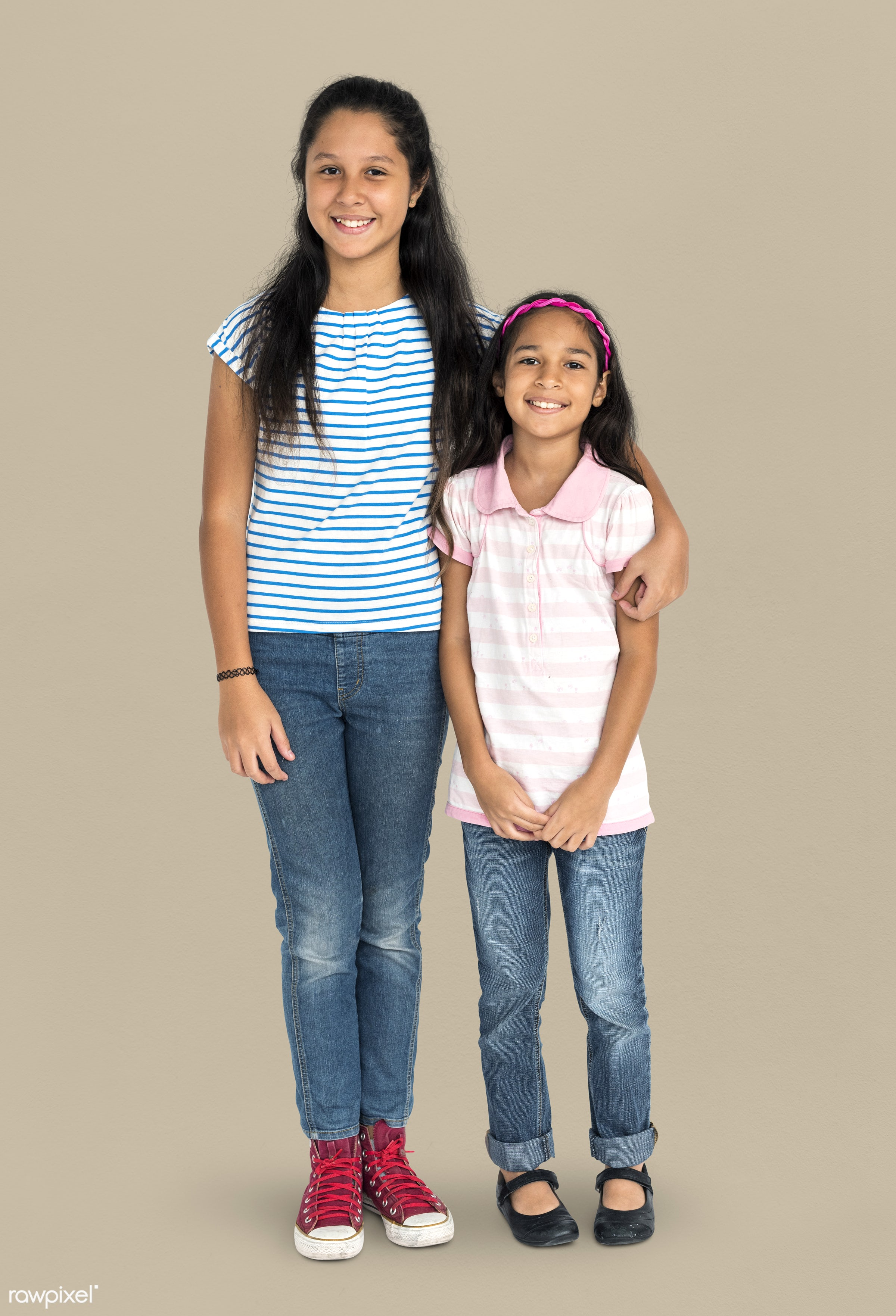 studio, expression, little, together, asian, kid, love, sisters, family, care, childhood, cheerful, smiling, isolated,...