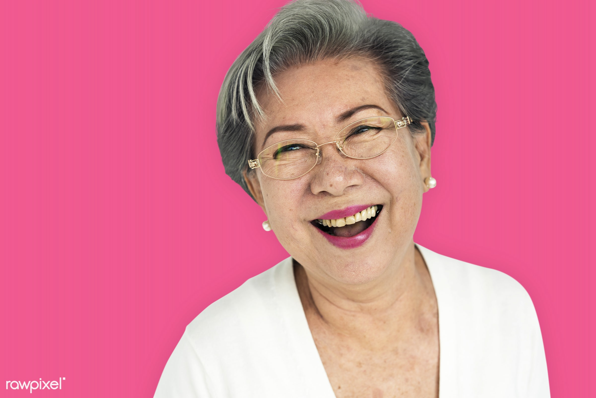 studio, expression, person, vibrant, people, asian, woman, pink, cheerful, smiling, isolated, happiness, portrait, emotion,...