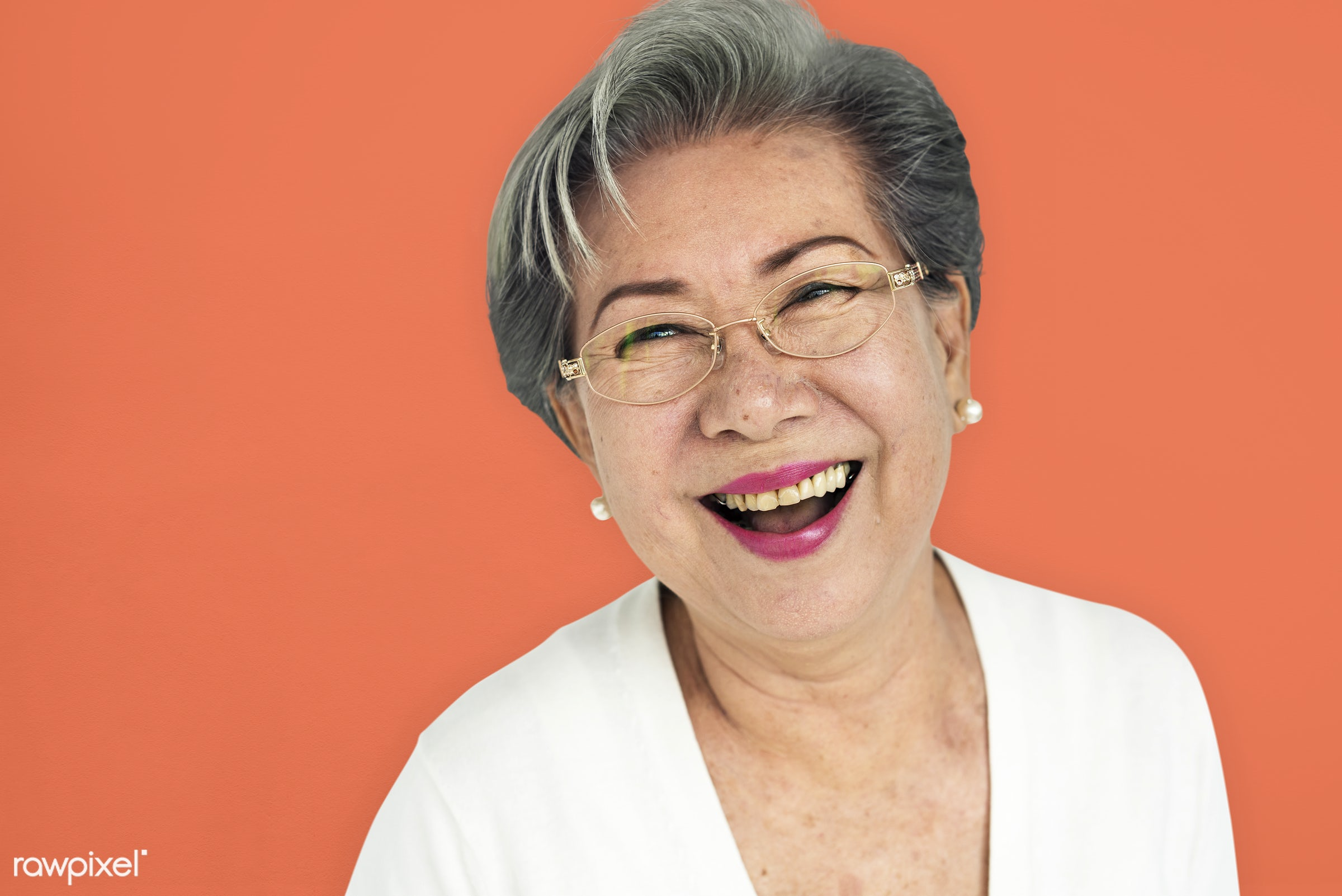 studio, expression, person, people, asian, woman, cheerful, smiling, isolated, orange, happiness, portrait, emotion,...