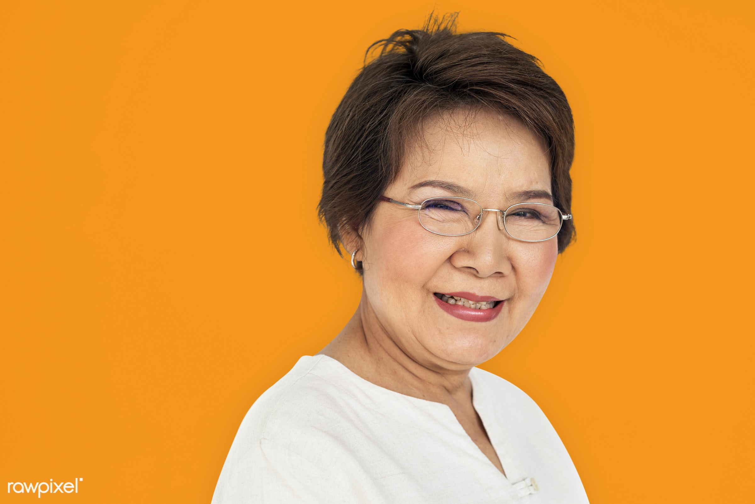 expression, studio, person, people, asian, woman, cheerful, smiling, isolated, orange, happiness, portrait, emotion,...