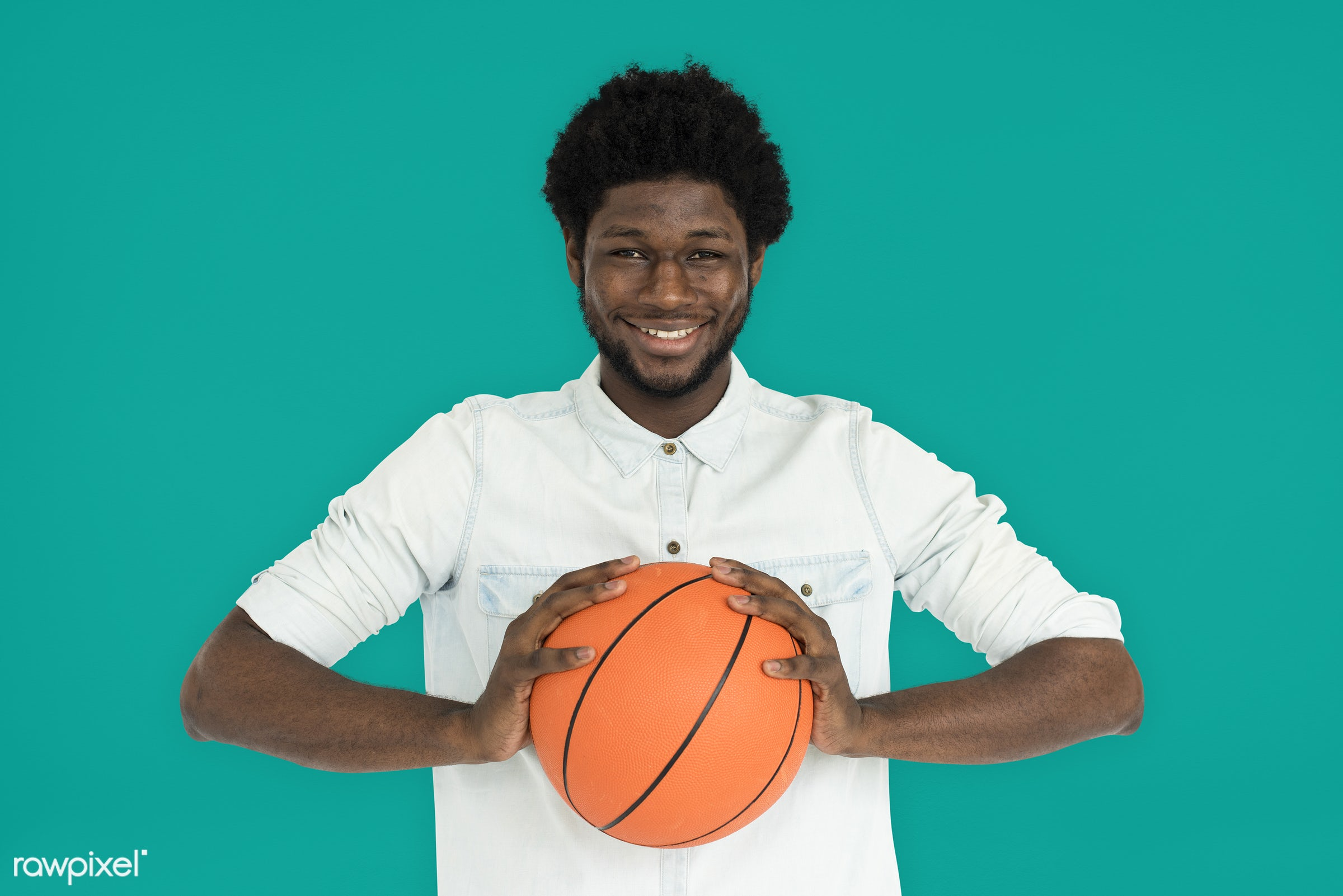 studio, basketball, expression, person, holding, people, lifestyle, cheerful, smiling, isolated, laugh, hobby, candid,...