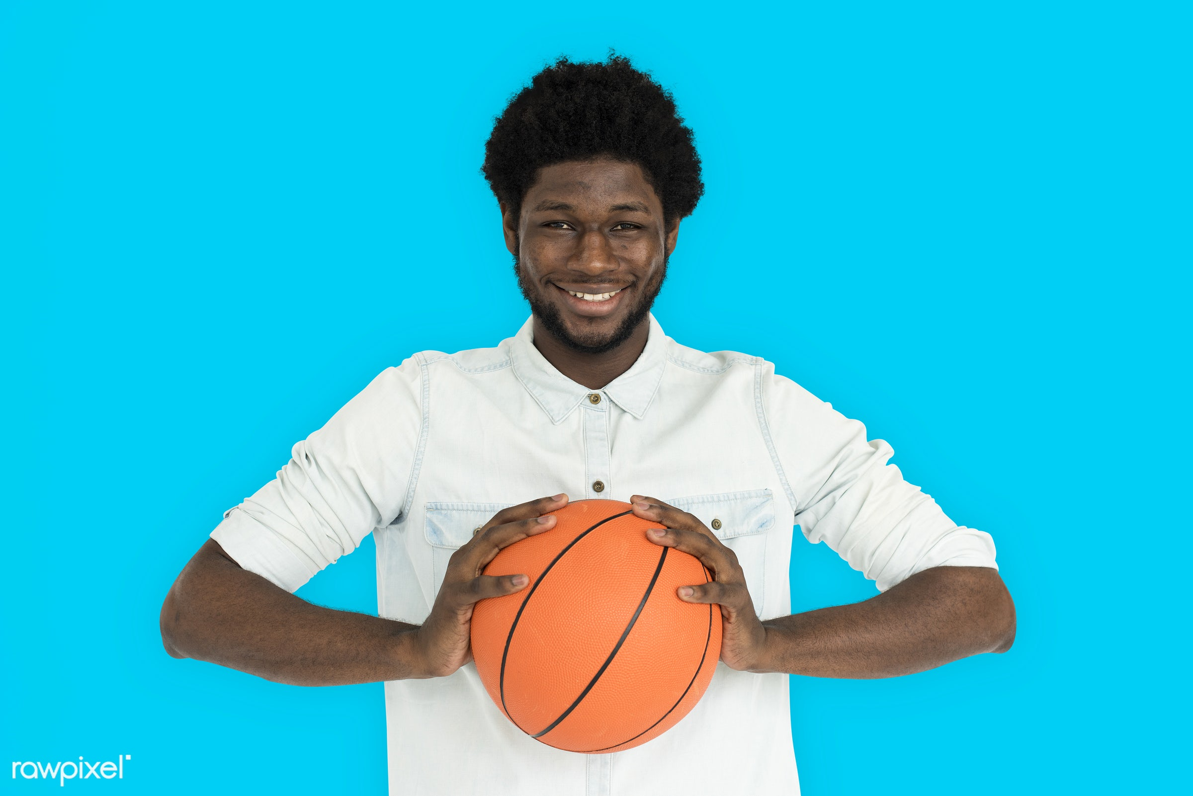 studio, basketball, expression, person, holding, vibrant, people, lifestyle, cheerful, smiling, isolated, laugh, hobby,...