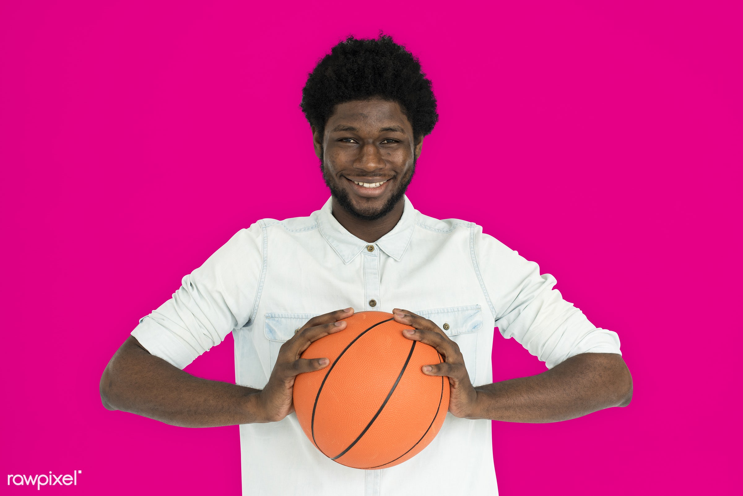 studio, basketball, expression, person, holding, vibrant, people, lifestyle, pink, cheerful, smiling, isolated, laugh, hobby...