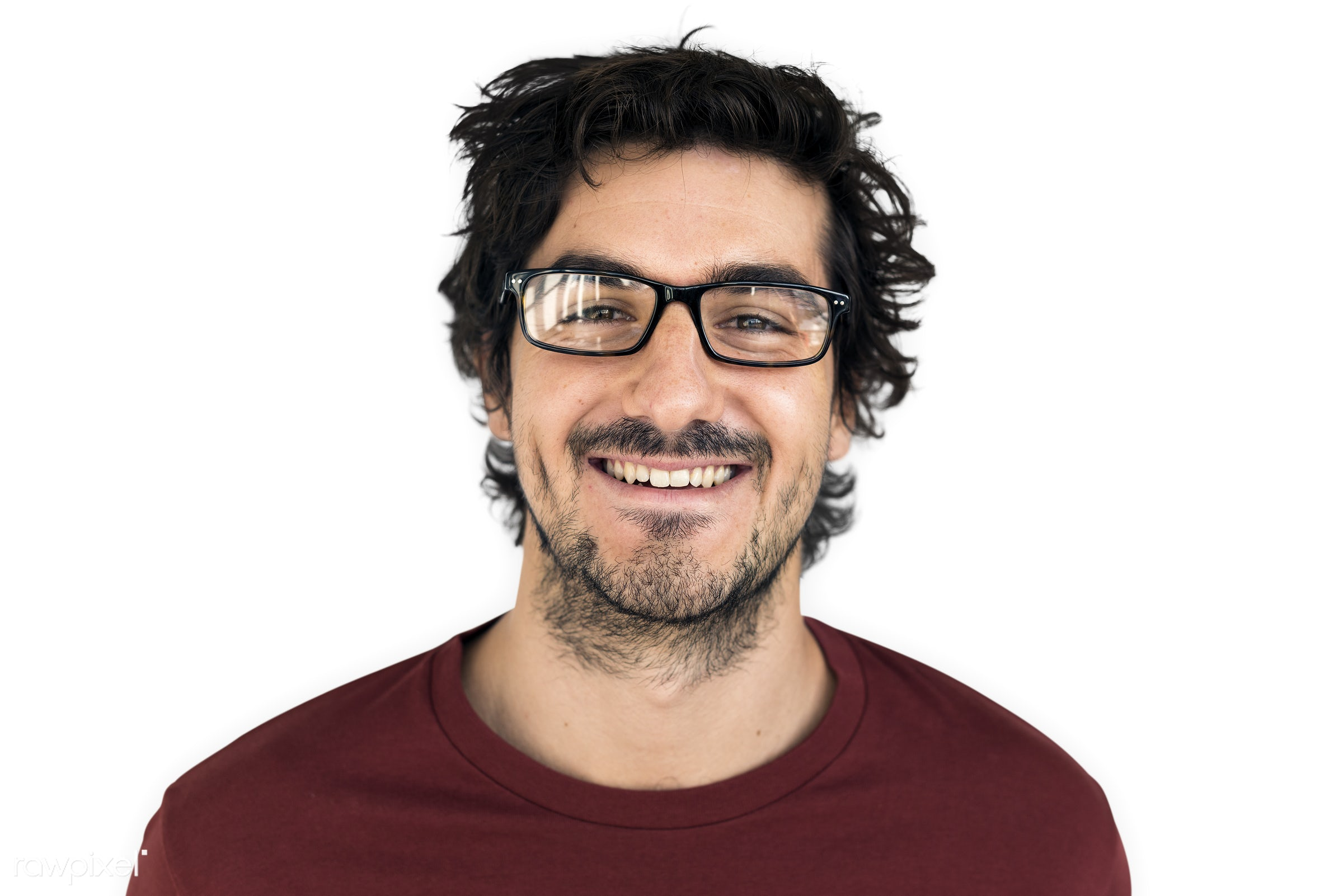 studio, intelligent, expression, person, glasses, people, caucasian, looking, style, happy, casual, man, smiling, isolated,...