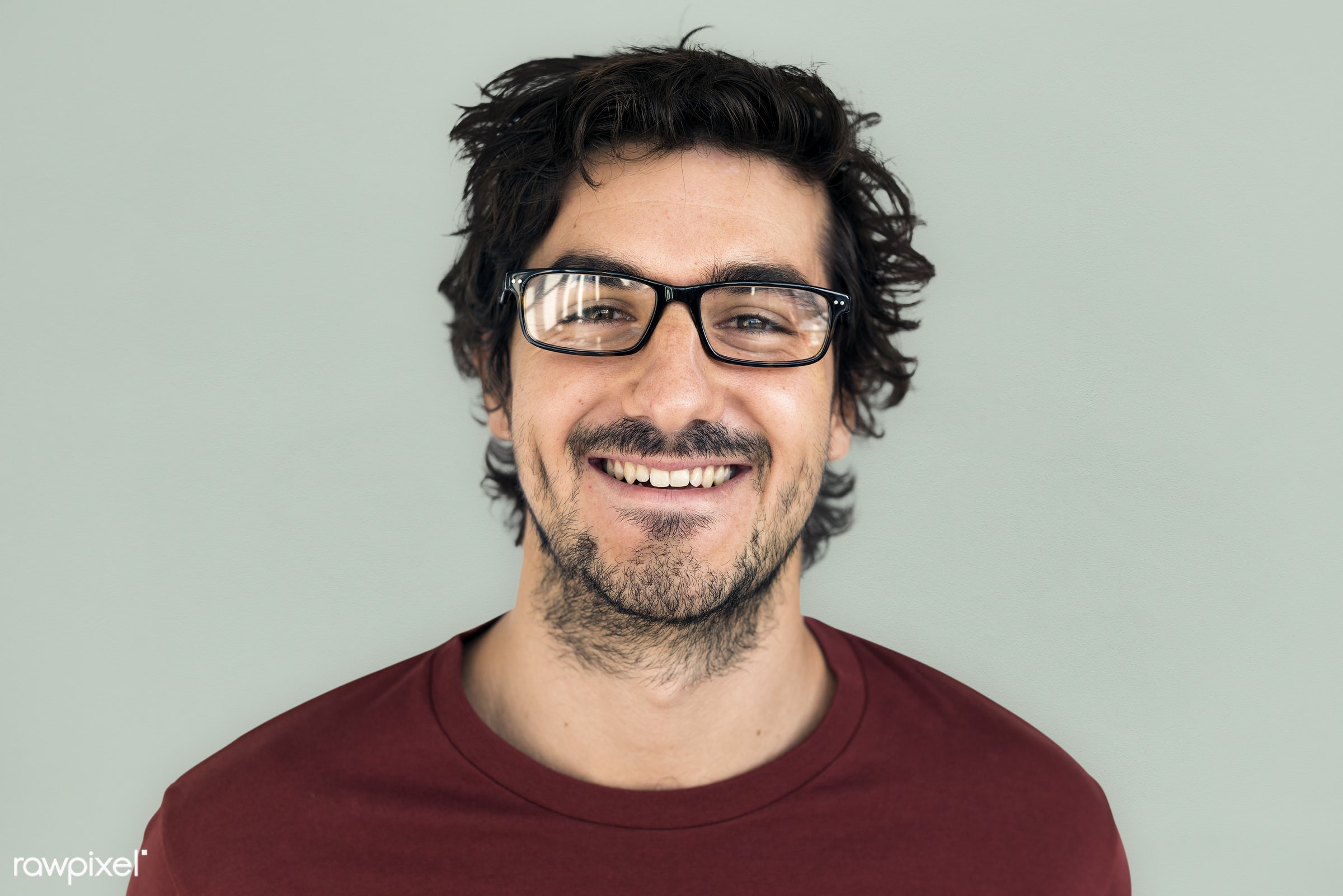 studio, intelligent, expression, earth tone, person, glasses, people, caucasian, looking, style, happy, casual, man, smiling...