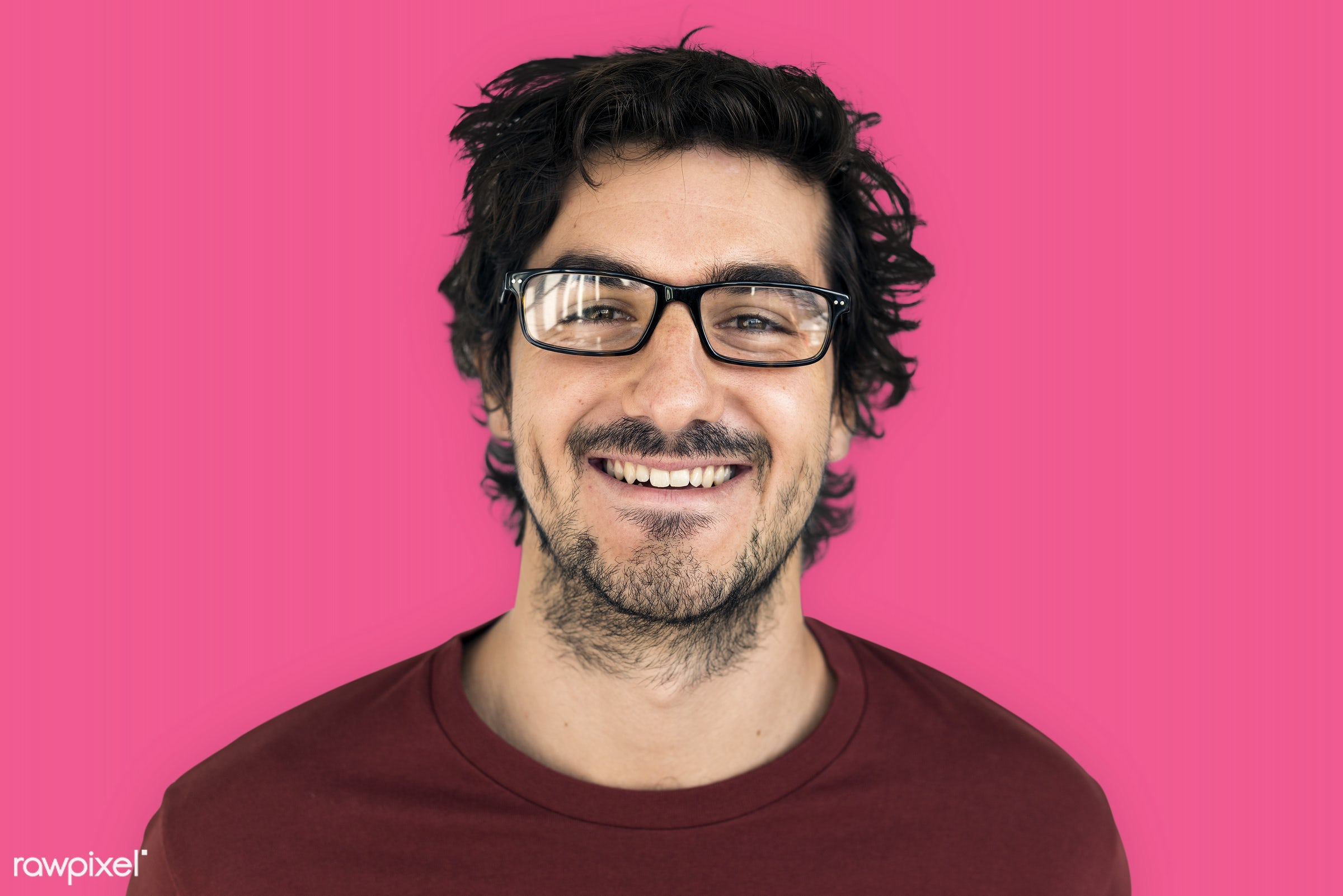 studio, intelligent, expression, person, glasses, vibrant, people, caucasian, looking, style, happy, casual, pink, man,...