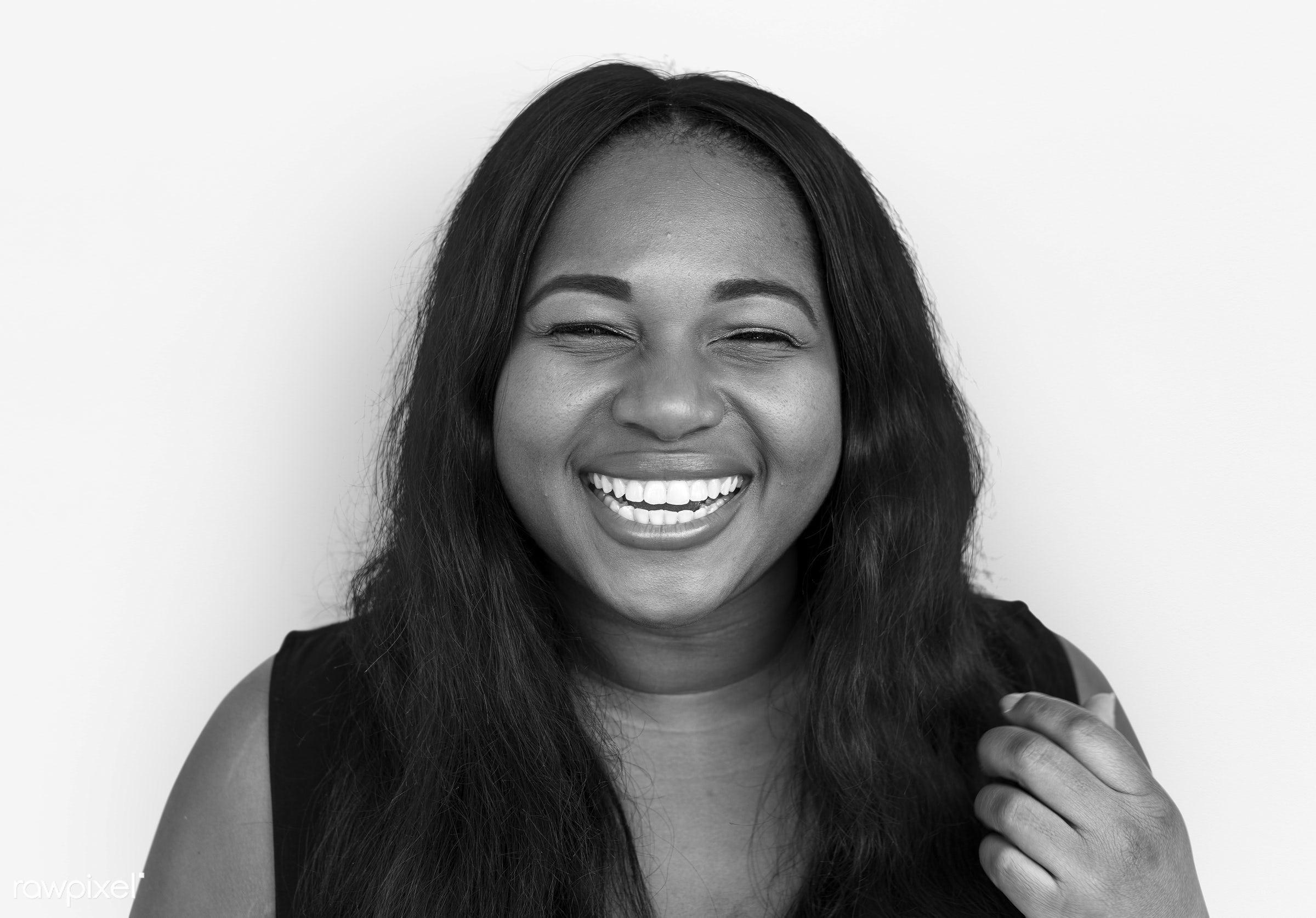 studio, expression, person, people, woman, smile, cheerful, smiling, isolated, african descent, white, happiness, portrait,...