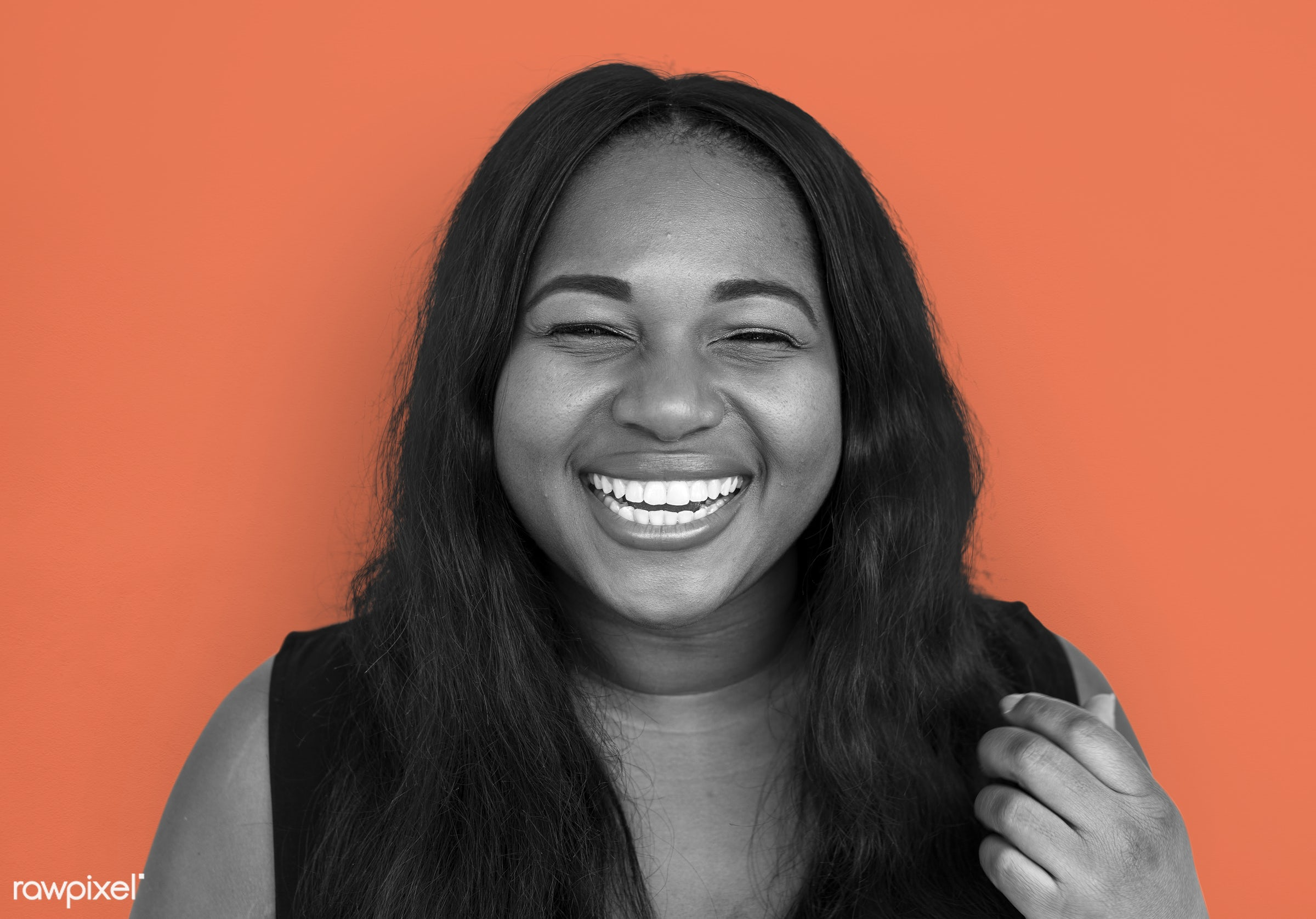studio, expression, person, people, woman, smile, cheerful, smiling, orange, african descent, happiness, portrait, emotion,...
