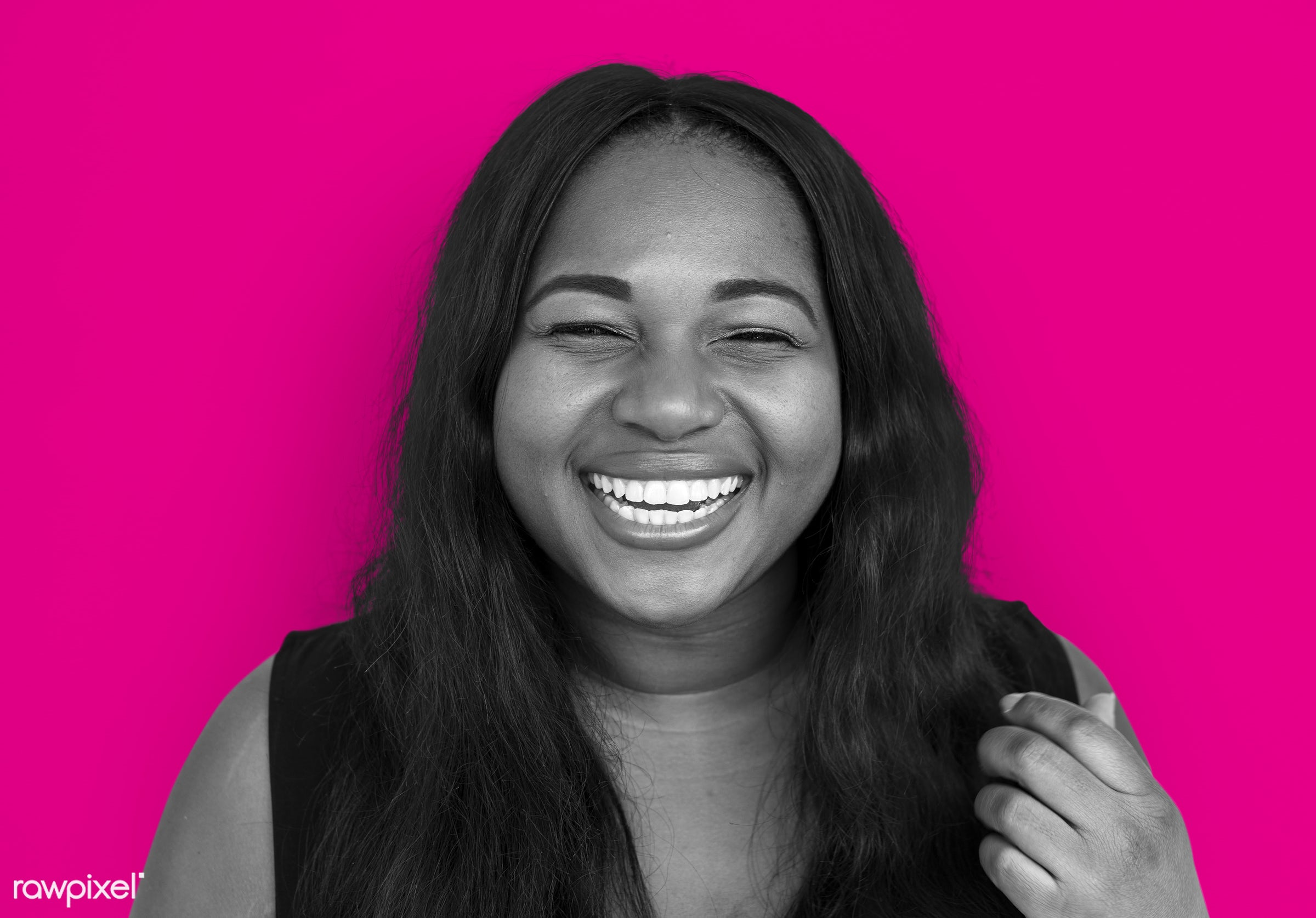studio, expression, person, people, woman, pink, smile, cheerful, smiling, african descent, happiness, portrait, emotion,...