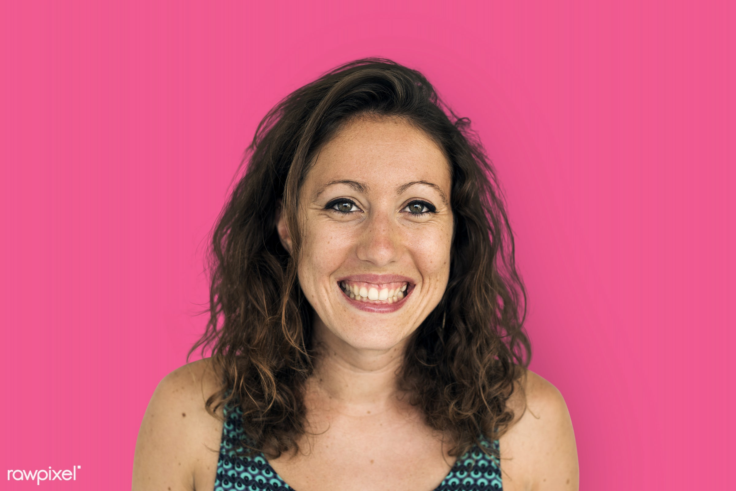 studio, expression, person, people, woman, pink, smile, cheerful, smiling, happiness, portrait, emotion, charming, face, joy...