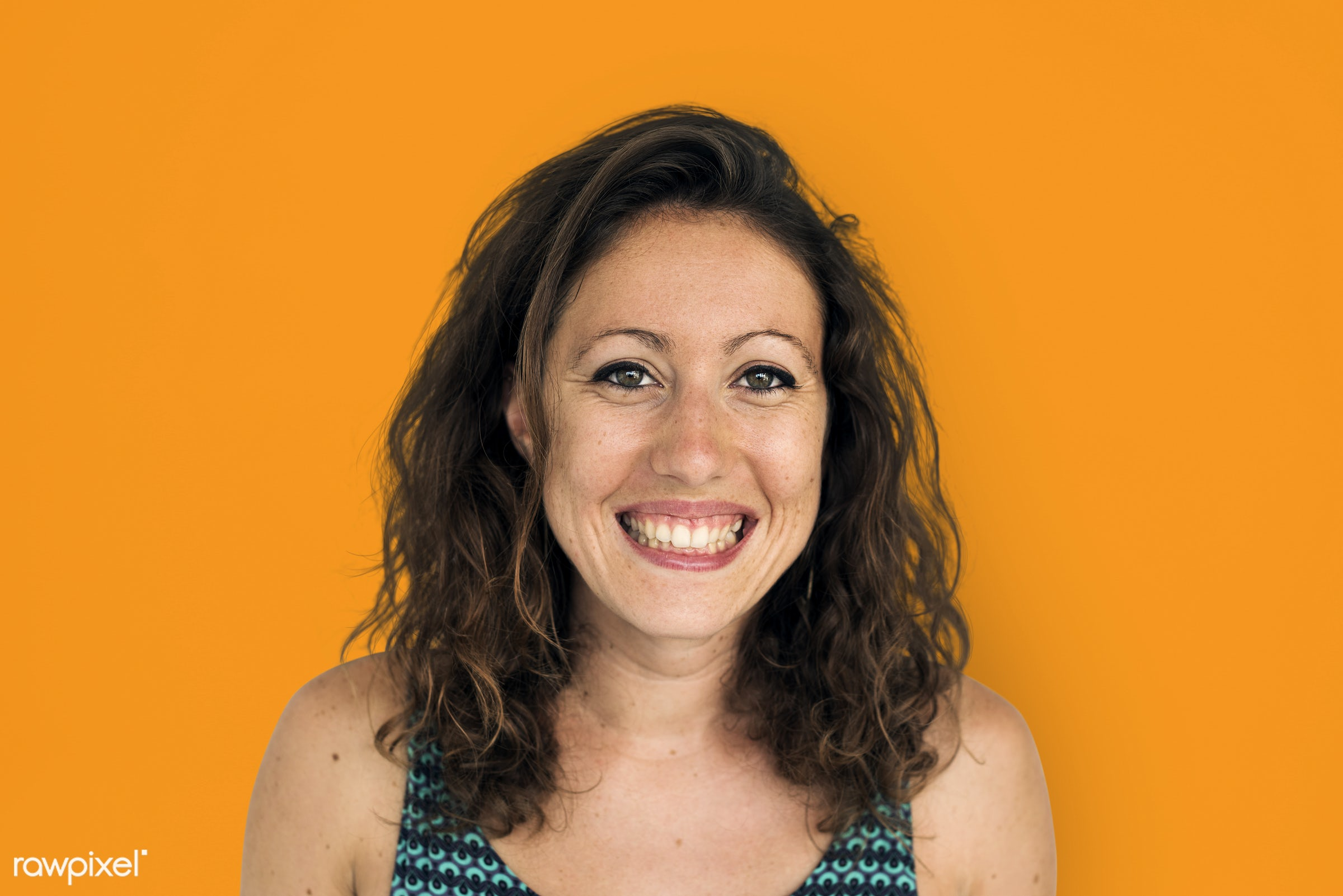 studio, expression, person, people, woman, smile, cheerful, smiling, orange, happiness, portrait, emotion, charming, face,...