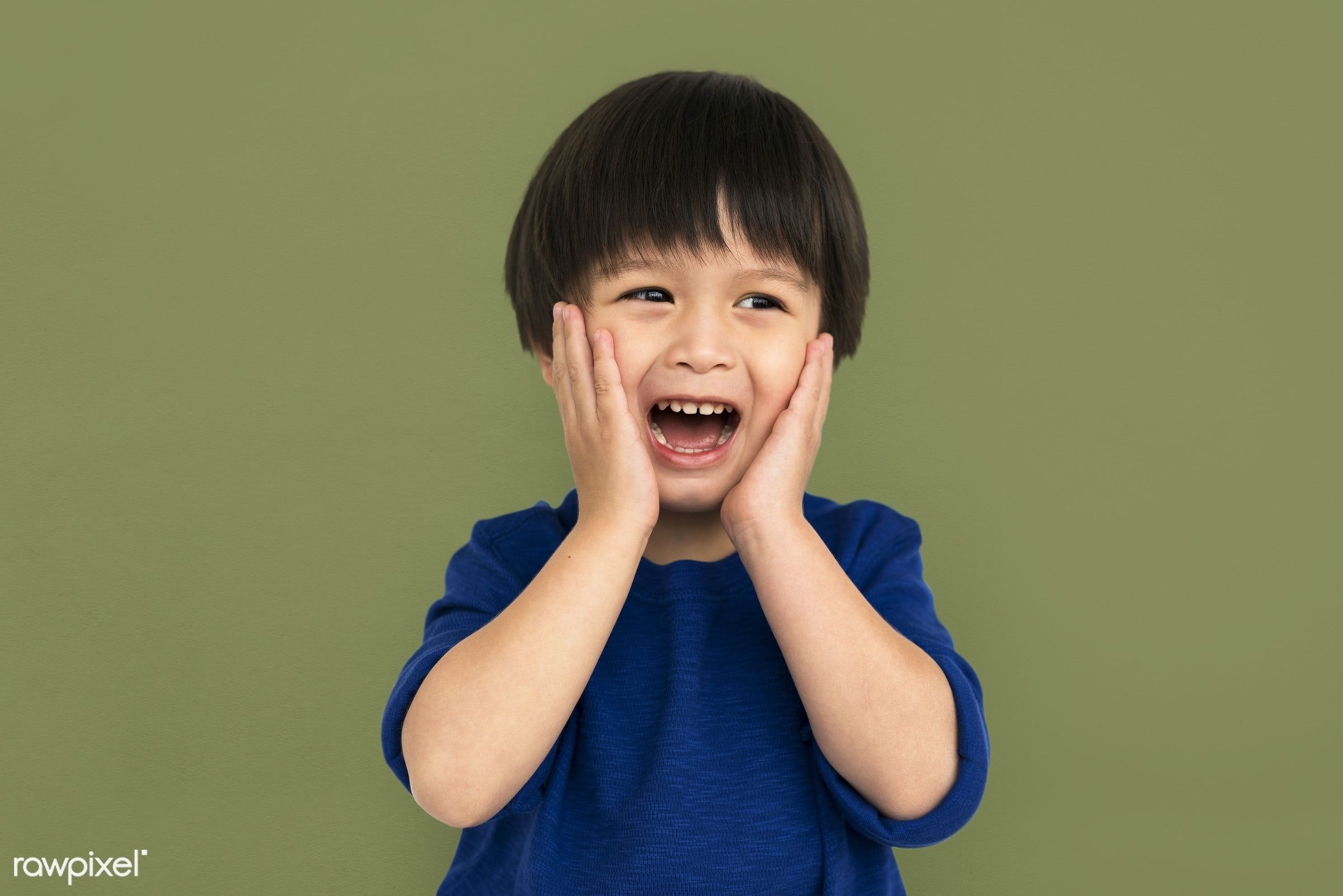 studio, expression, little, asian, kid, open, childhood, cheerful, screaming, isolated, mouth, scared, fun, portrait,...