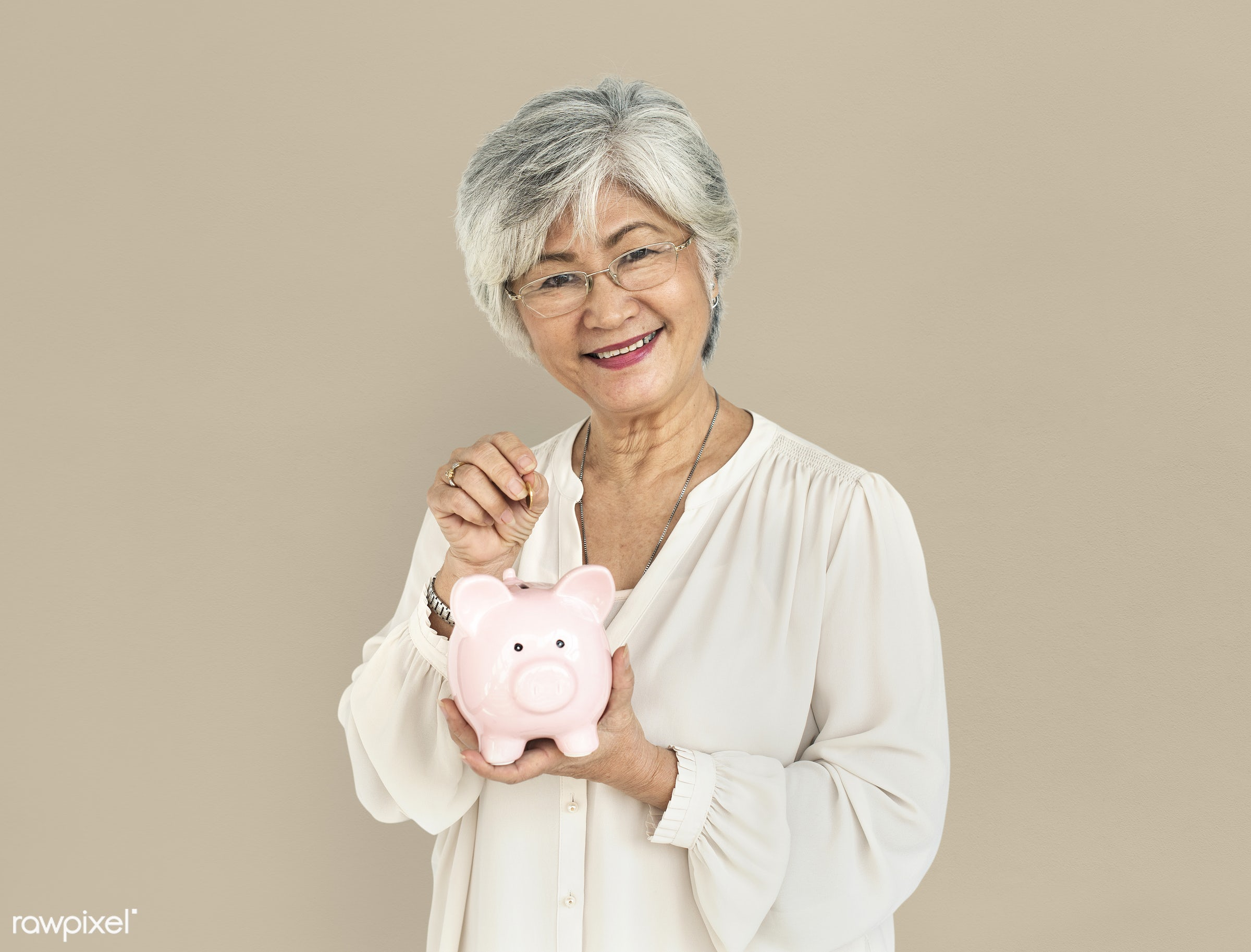 studio, expression, person, save, thrift-box, people, asian, woman, cheerful, smiling, isolated, happiness, portrait,...