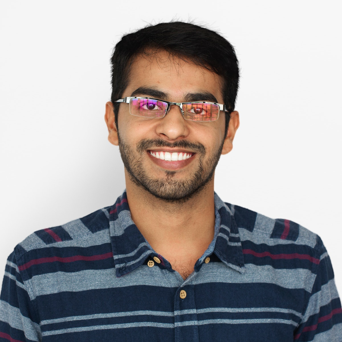 Indian Man Smiling Studio Concept