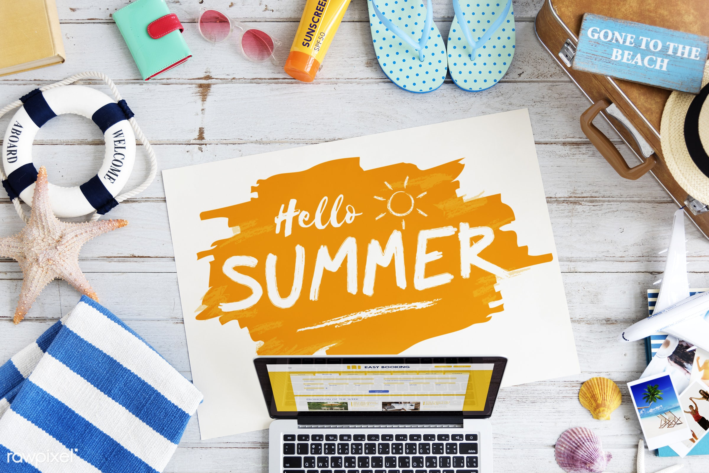 aerial view, background, beach, colorful, computer, device, digital, flat lay, holiday, laptop, notebook, summer, summer...