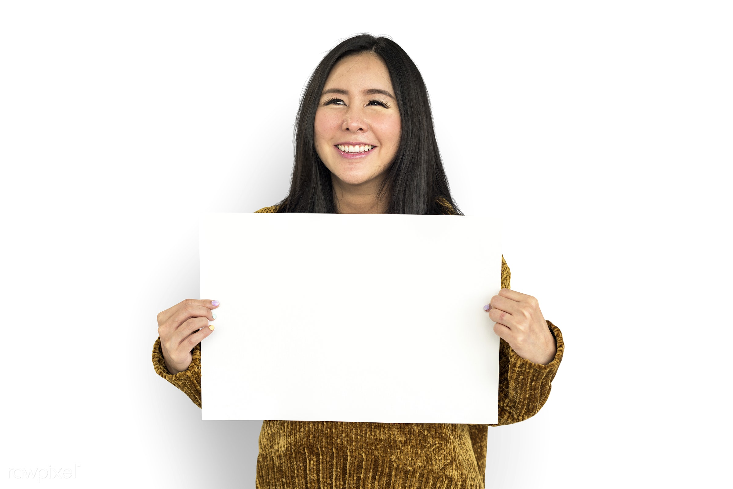 studio, expression, person, illustration, placard, woman, smiling, isolated, creative, white, image, symbolic, happiness,...