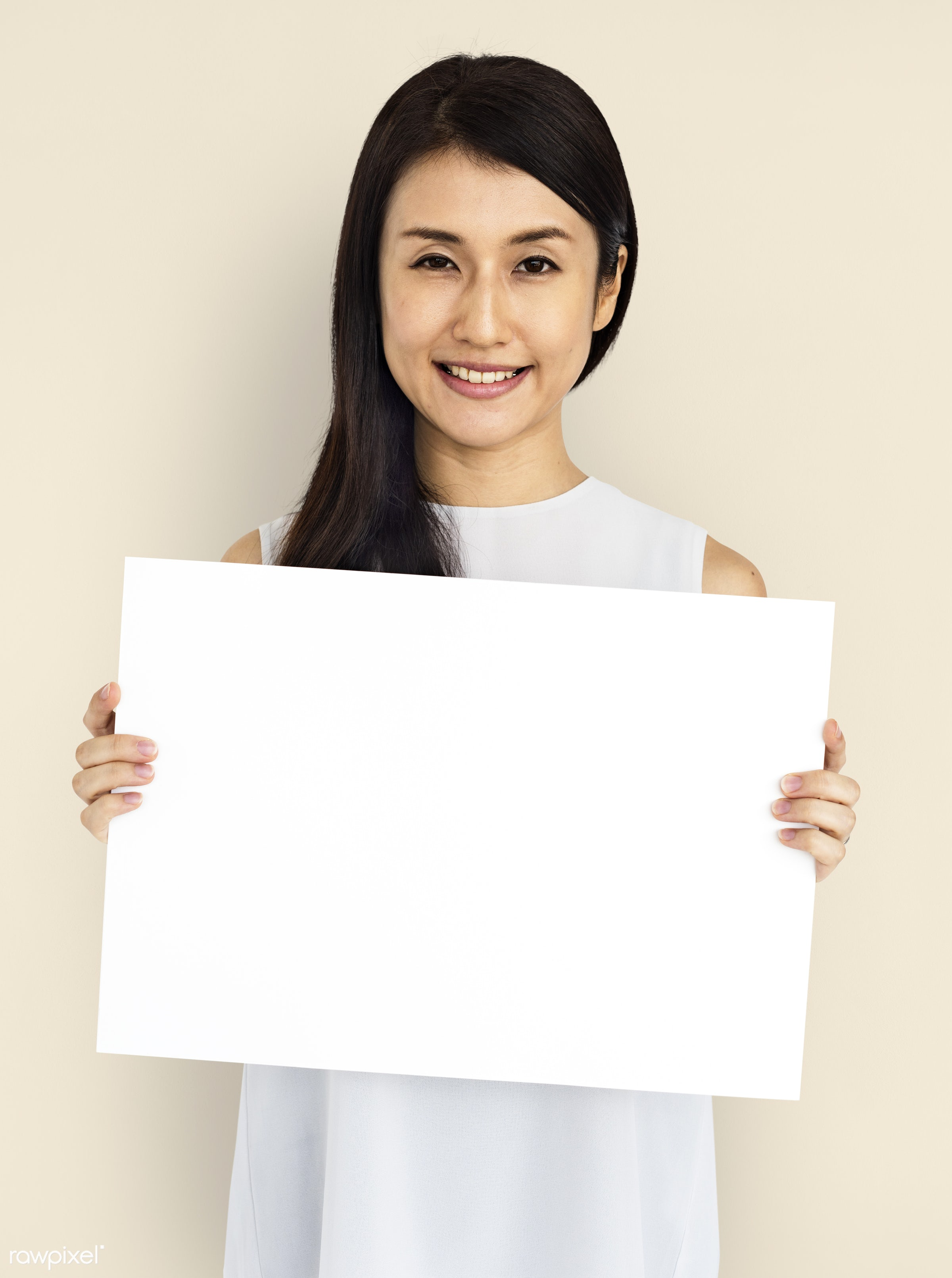 studio, expression, person, illustration, placard, woman, smiling, isolated, creative, image, symbolic, happiness, board,...