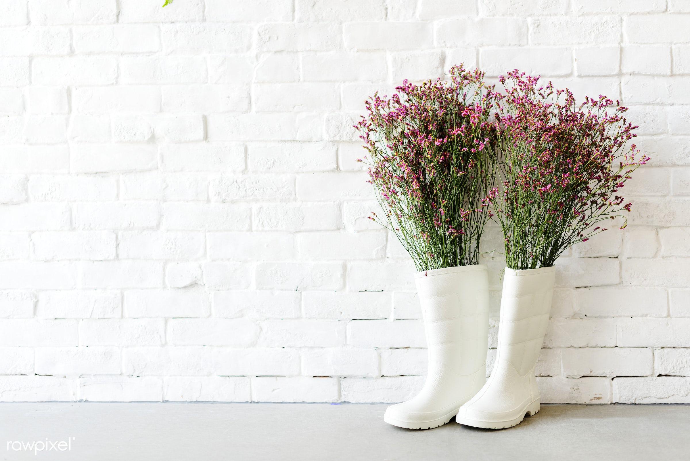 spring, gardening, flower, rain, wall, unique, garden, boot, leaf, nature, stone, vase, background, be creative, beautiful,...