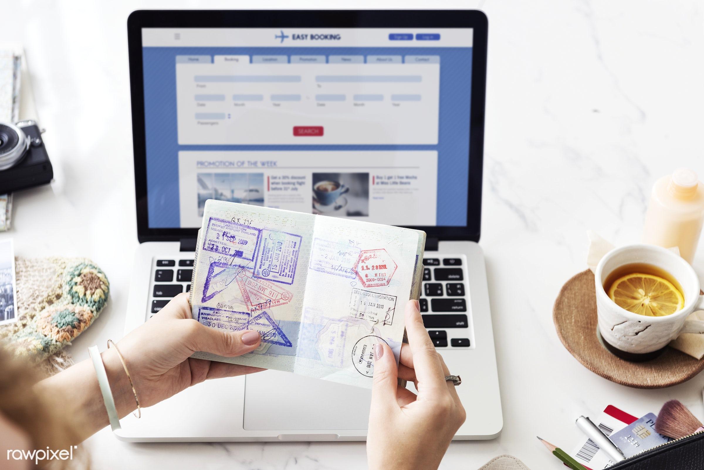 Booking flight online - passport, communication, computer, connection, device, digital, explore, internet, journey, laptop,...