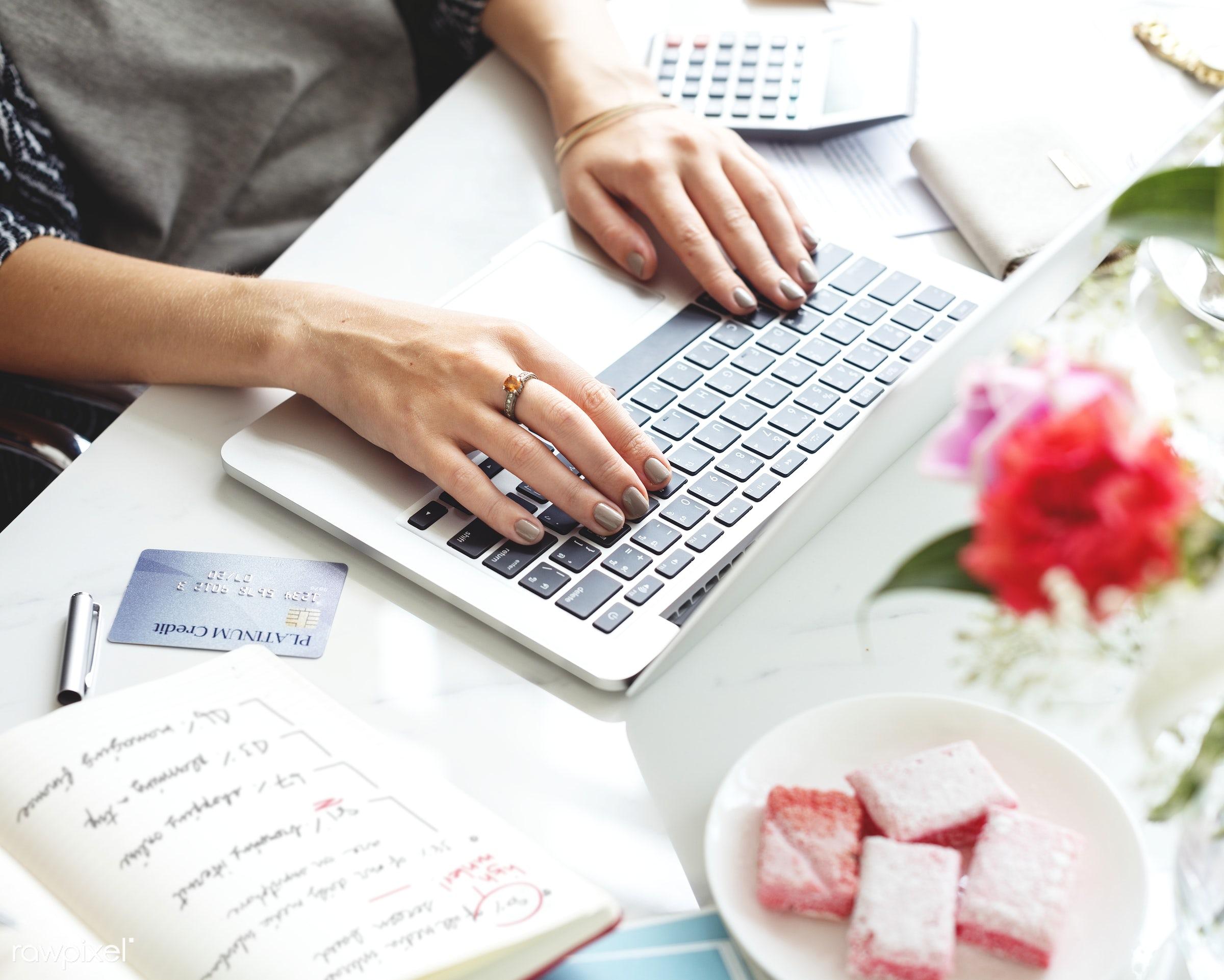 Woman working on computer laptop - financial, business, communication, computer, connection, device, digital, entrepreneur,...
