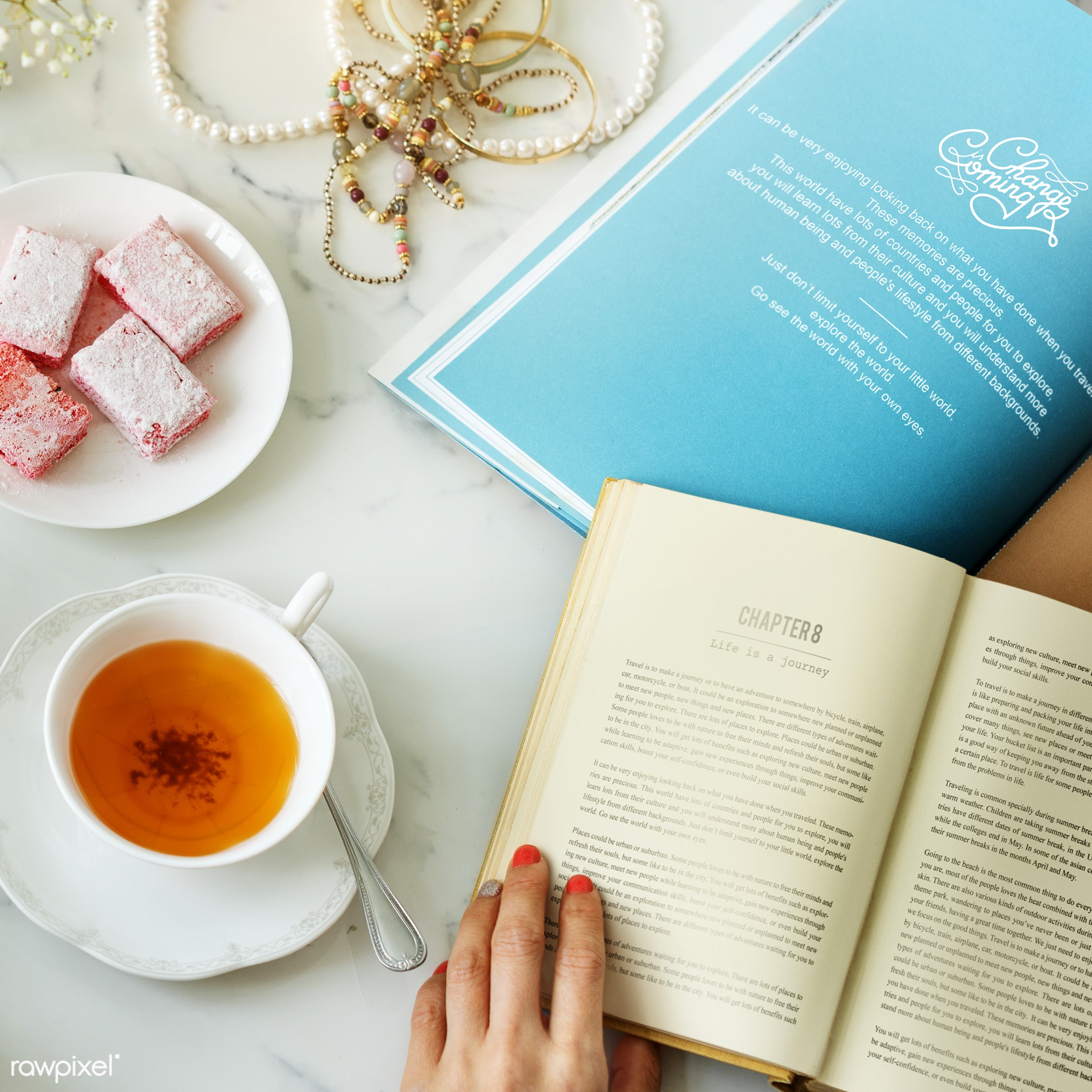book, break, cup, feminine, fiction, hands, hobby, holding, layers, leisure, magazine, novel, pages, paper, read, reading,...