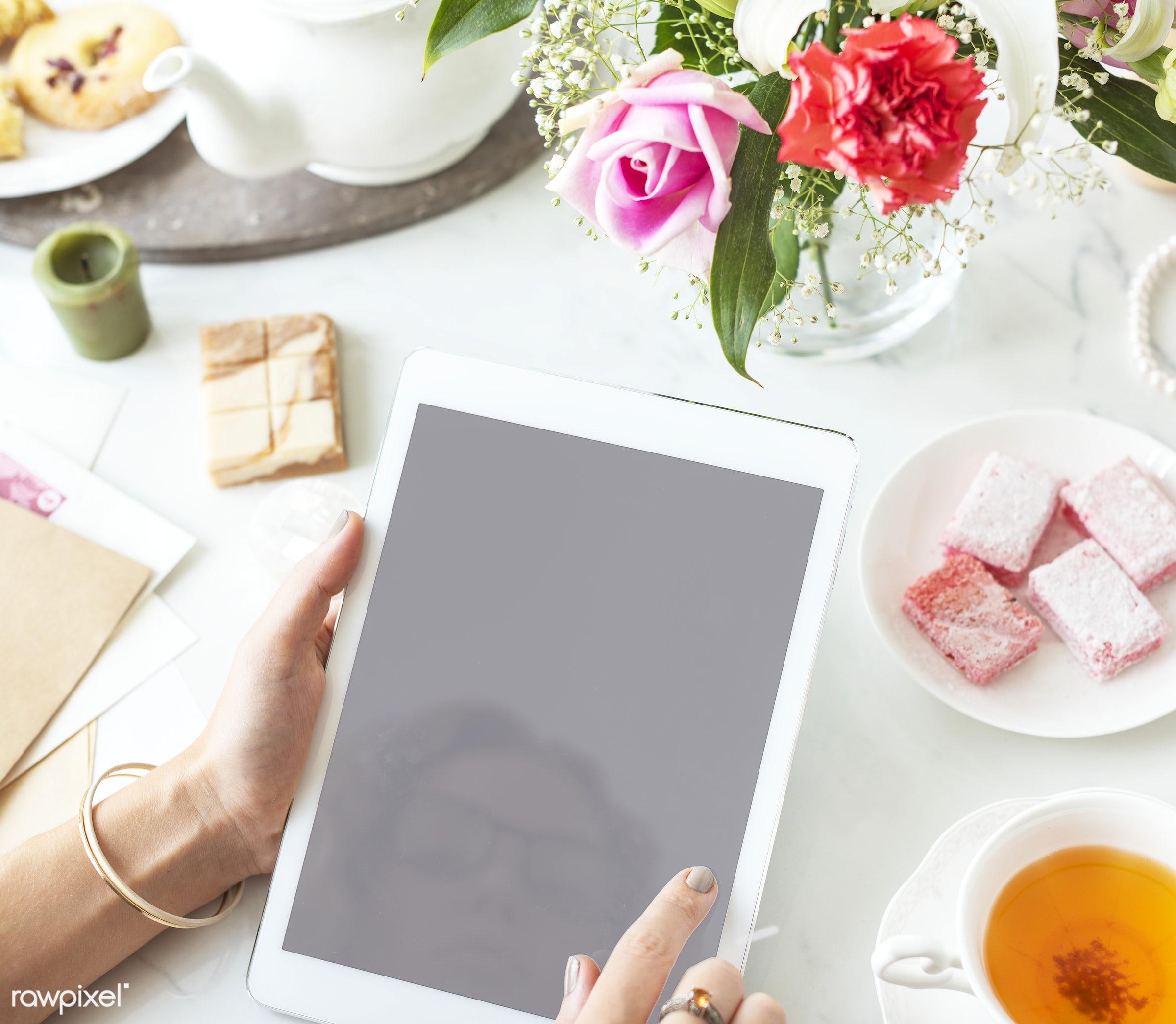 blank, blank space, closeup, communication, connection, copy space, design, design space, device, digital, digital tablet,...