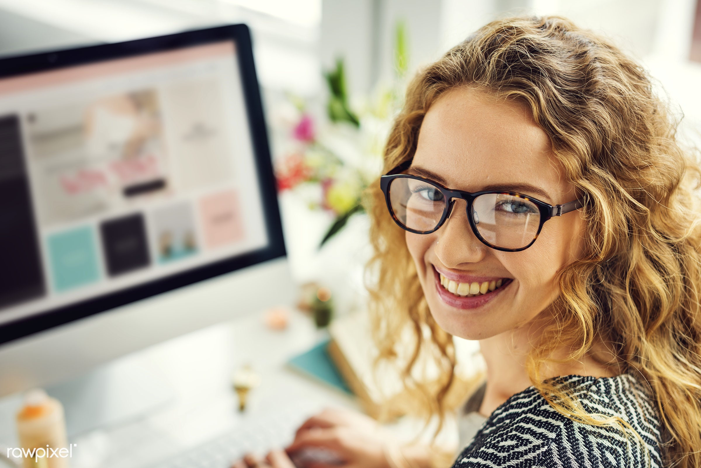 Woman is enjoying online shopping - online shopping, alone, communication, computer, connection, design, device, digital,...