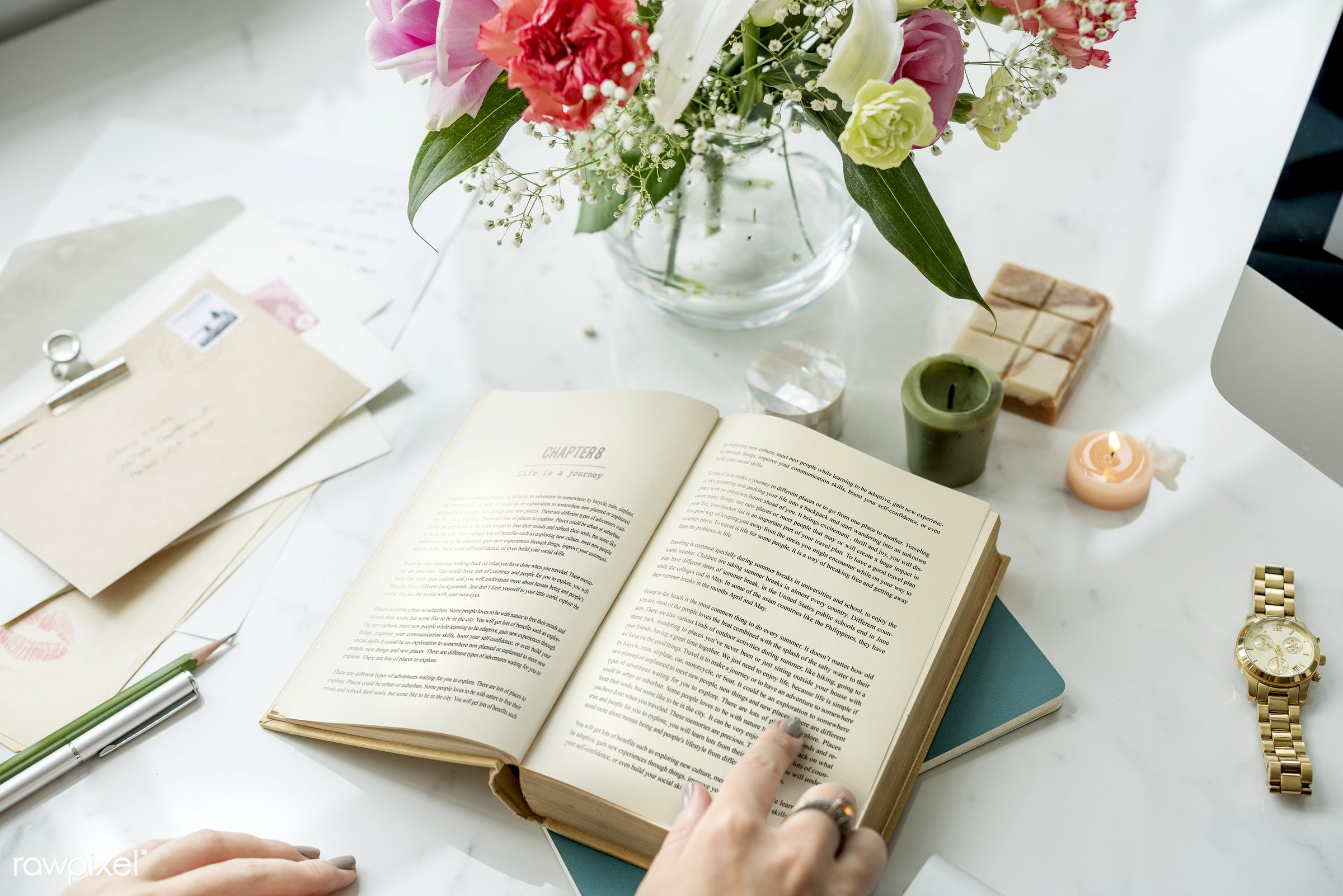 book, break, cup, feminine, fiction, flower, hands, hobby, holding, layers, leisure, magazine, novel, pages, paper, read,...