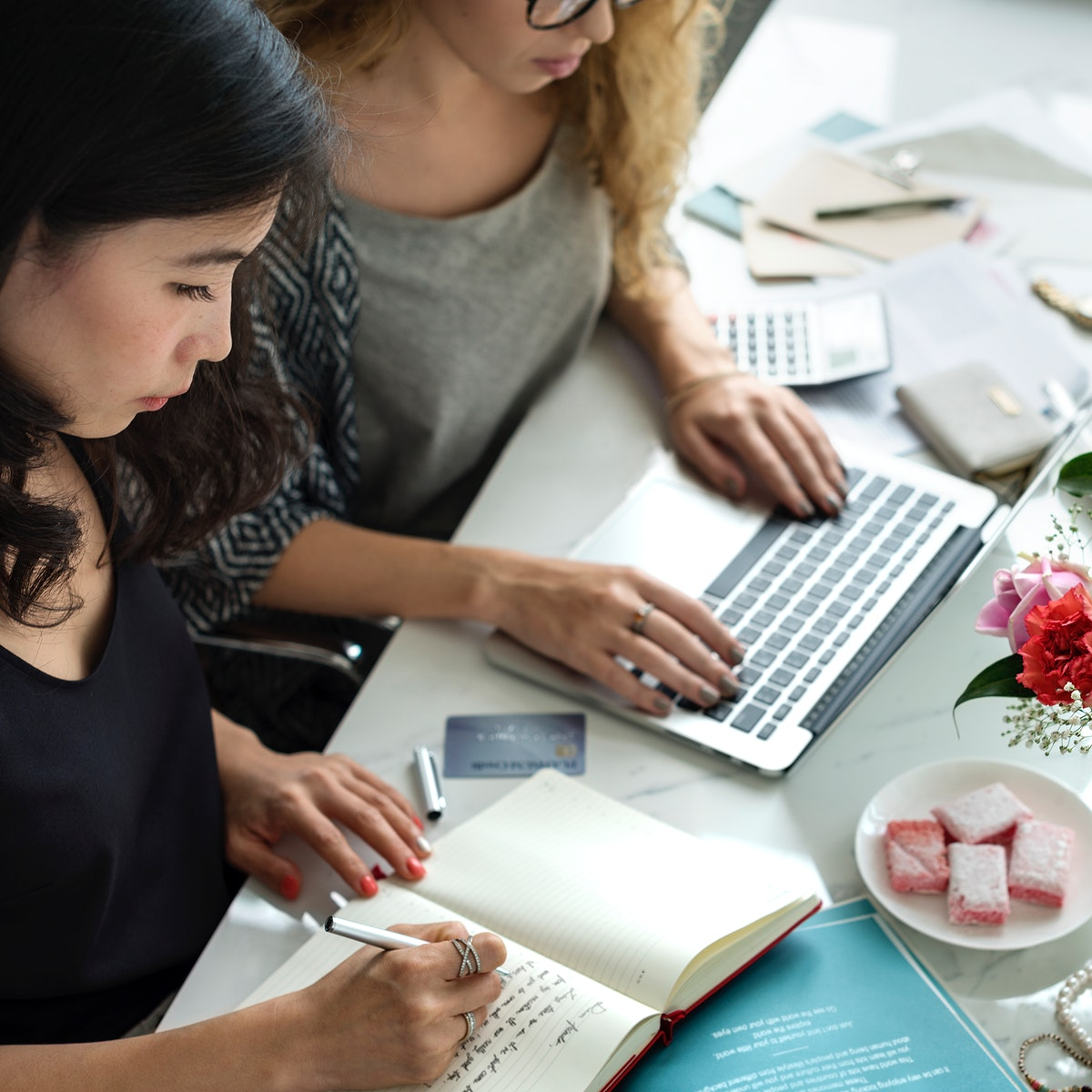 Women working on small business